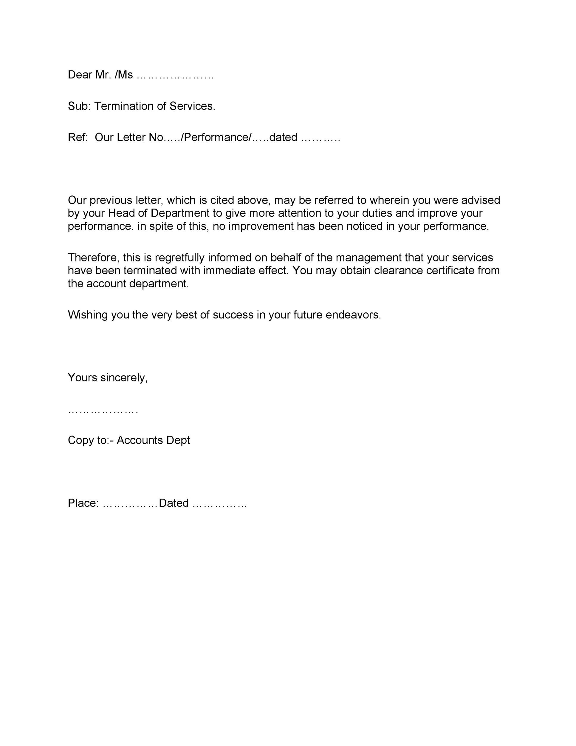 Printable Termination Letter Template 07  Sample Employee Termination Letter