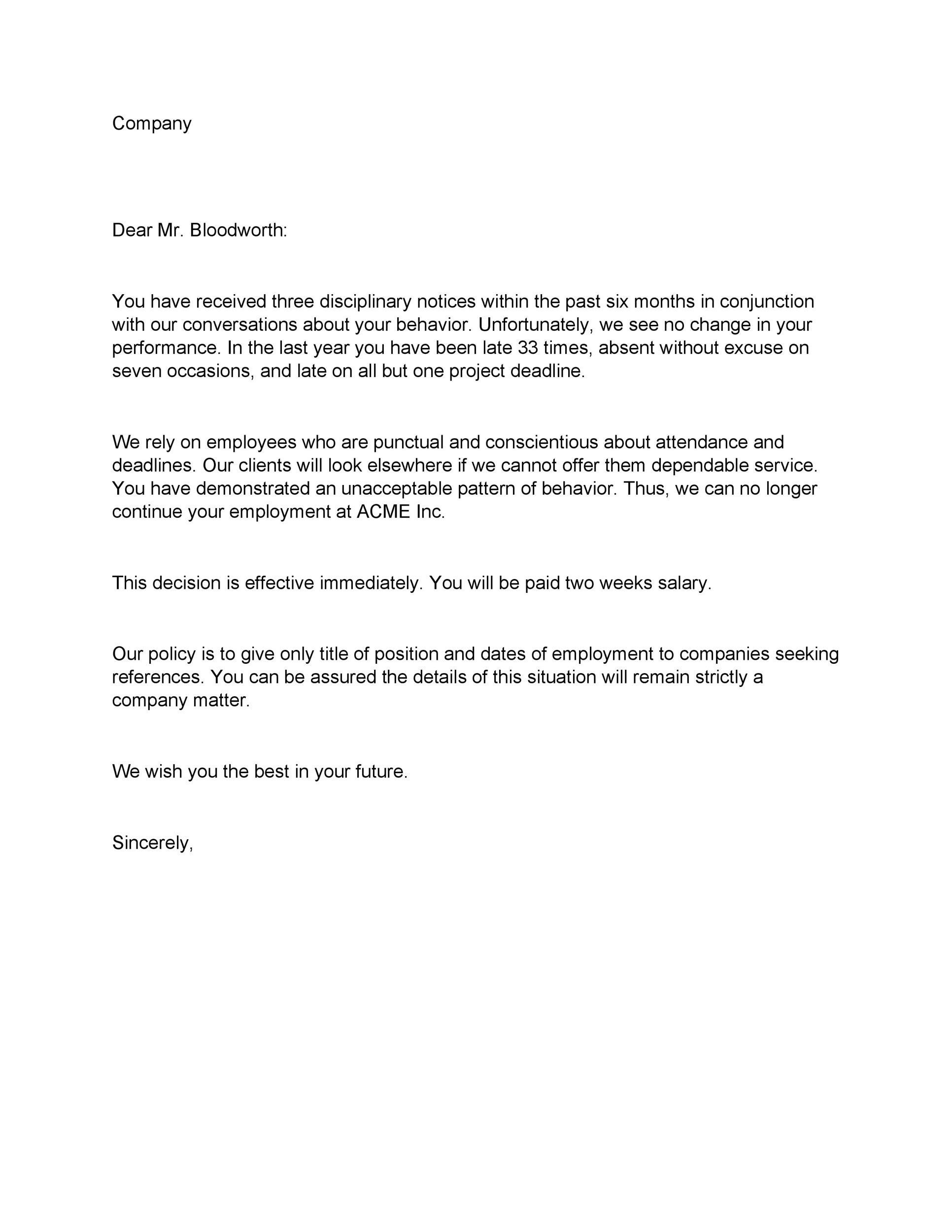 Employee Termination Letter Sample | Docoments Ojazlink