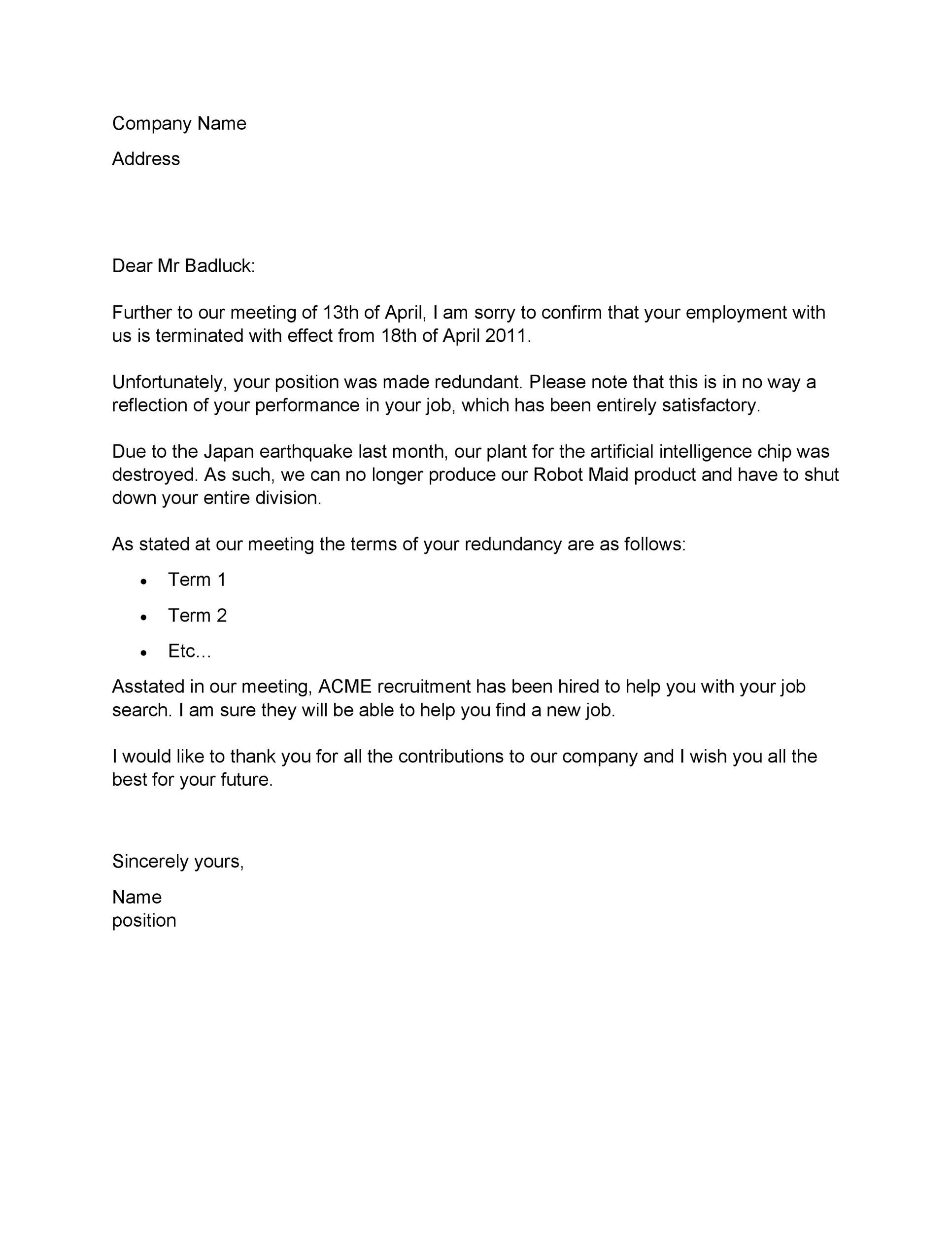 Letter From Employer That Insurance Termed