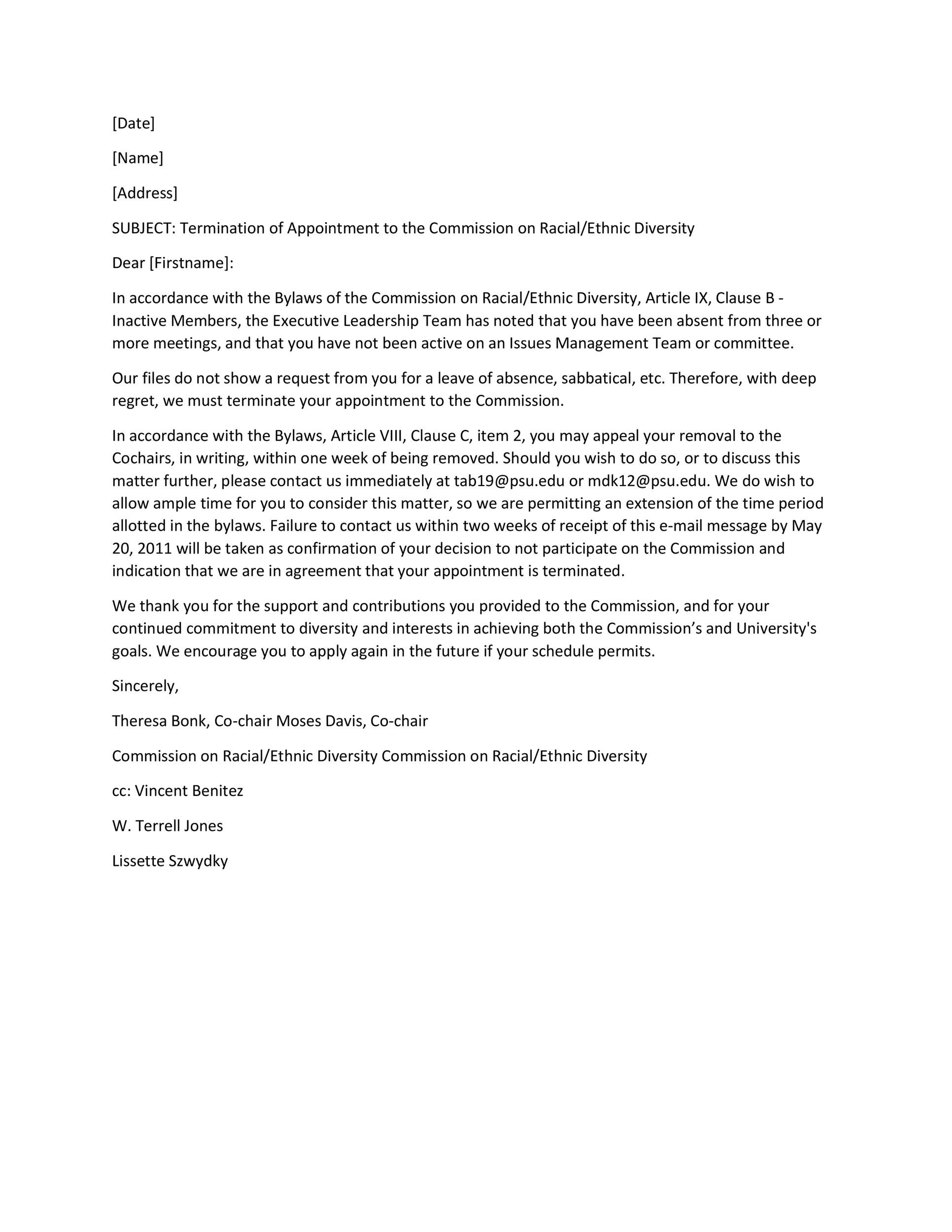 Free Termination Letter Template 13