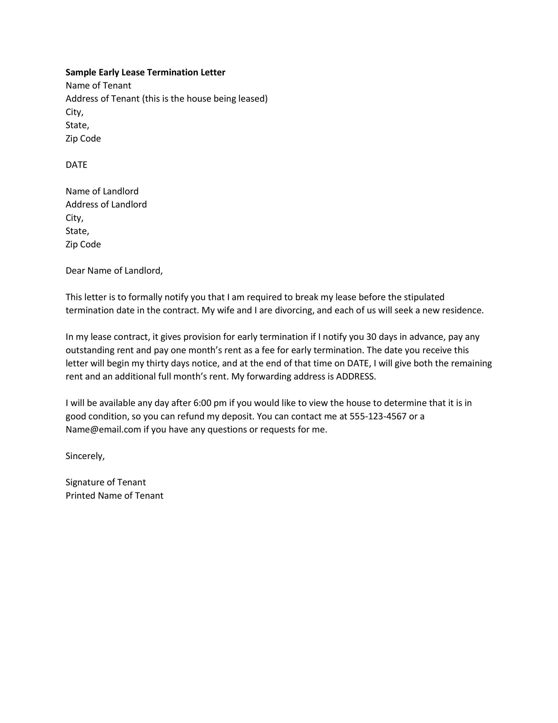 Printable Termination Letter Template 14  Lease Termination Letter Template