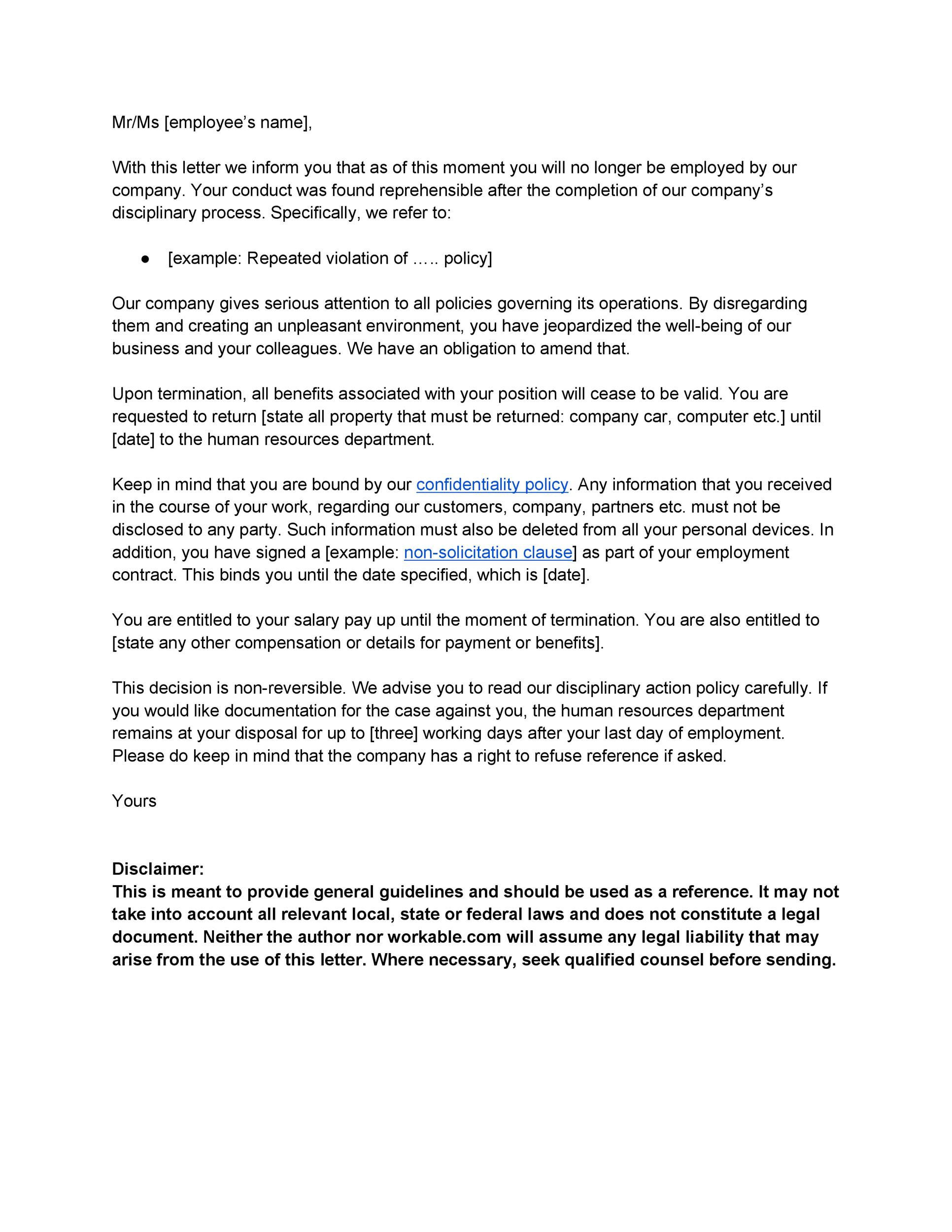 Printable Termination Letter Template 15  How To Write A Termination Letter To An Employee