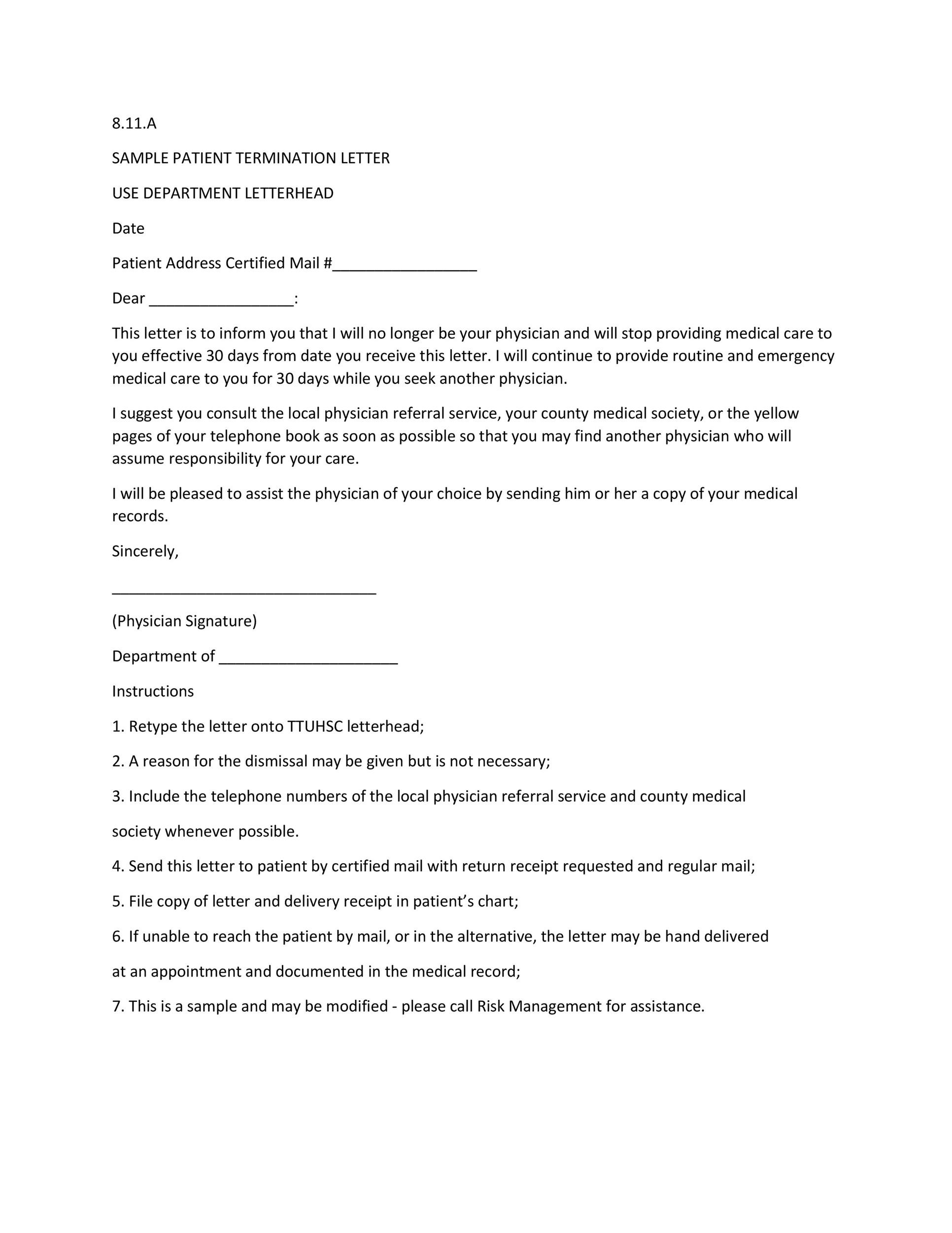 Printable Termination Letter Template 21  Sample Contract Termination Letter