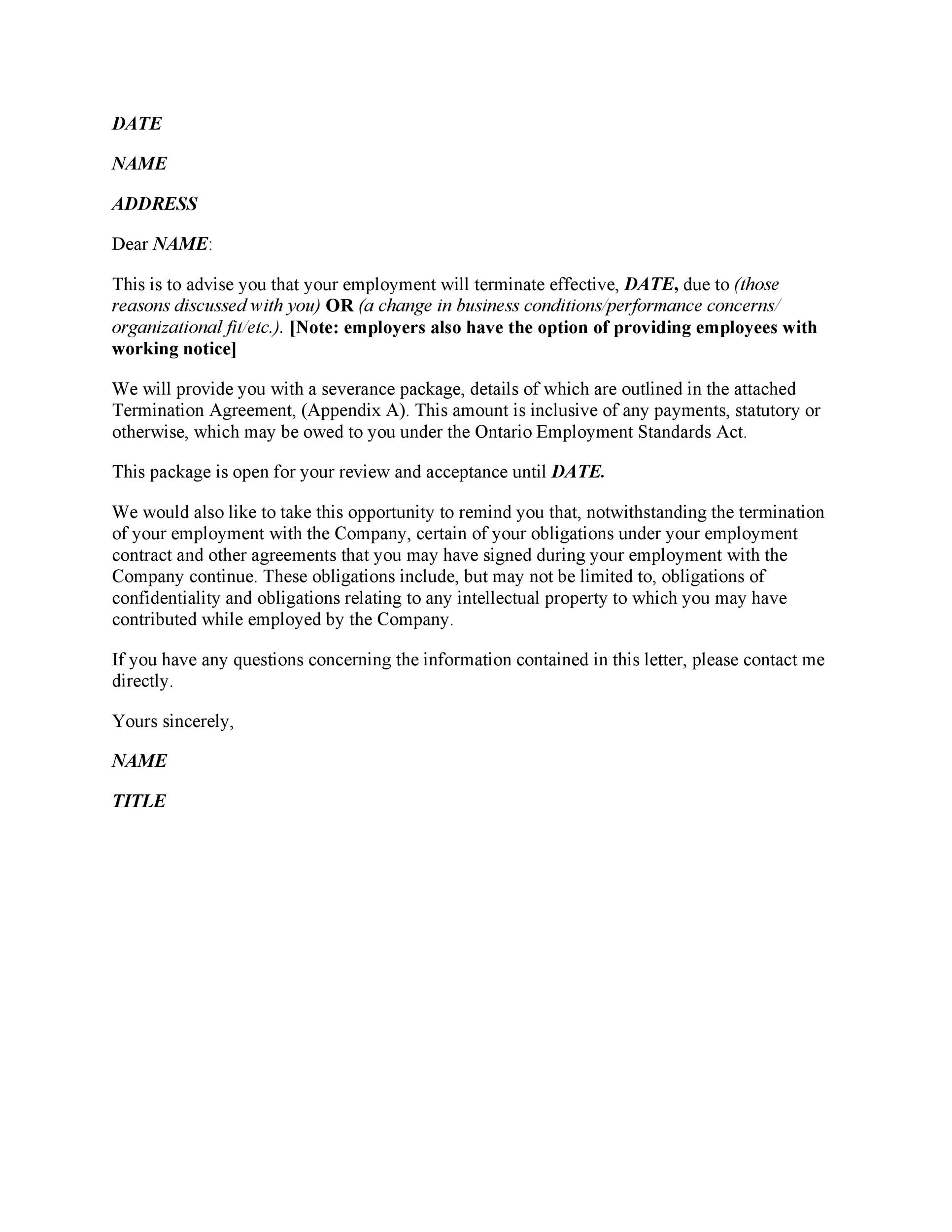 35 Perfect Termination Letter Samples Lease Employee Contract – Severance Agreement Template