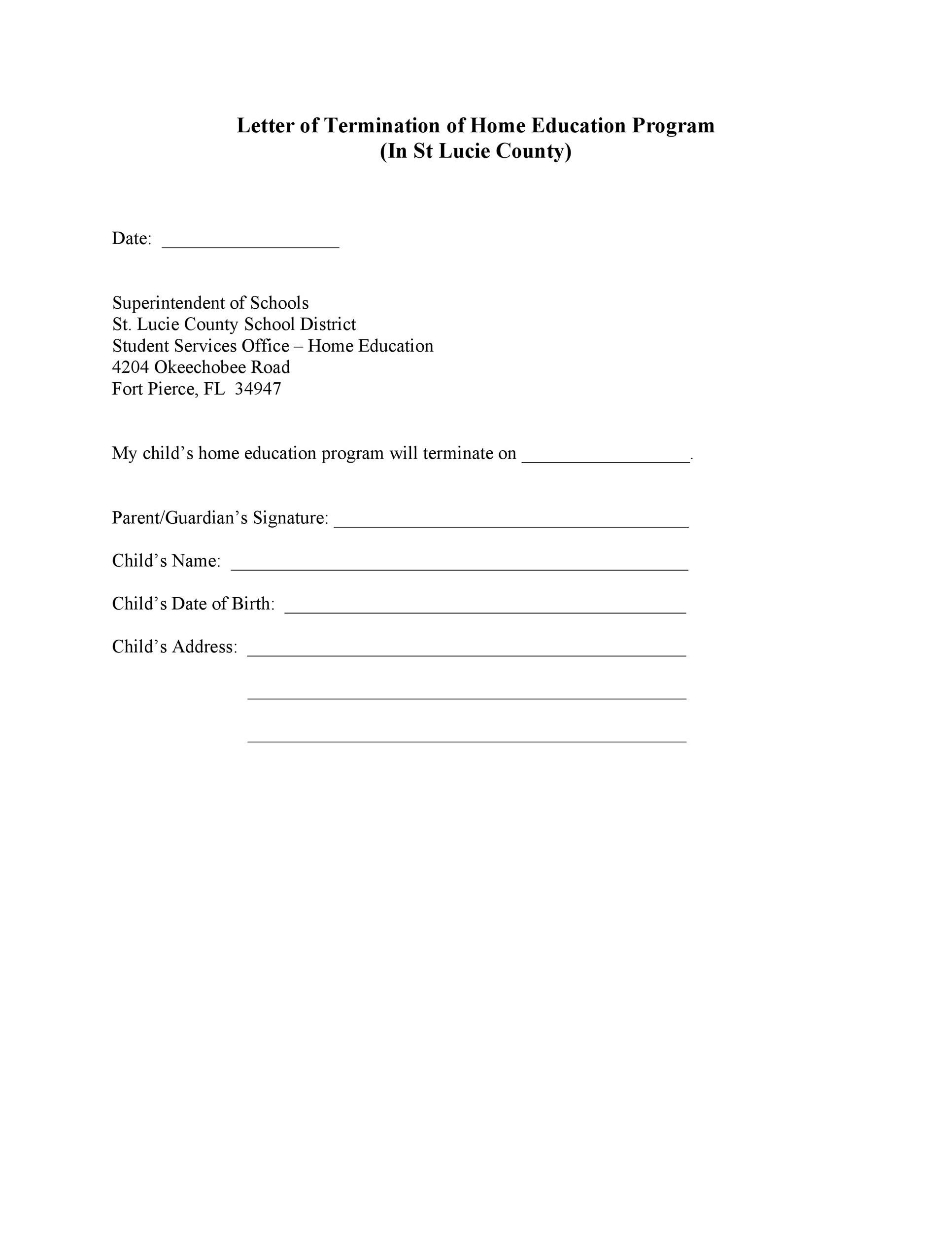 Free Termination Letter Template 29
