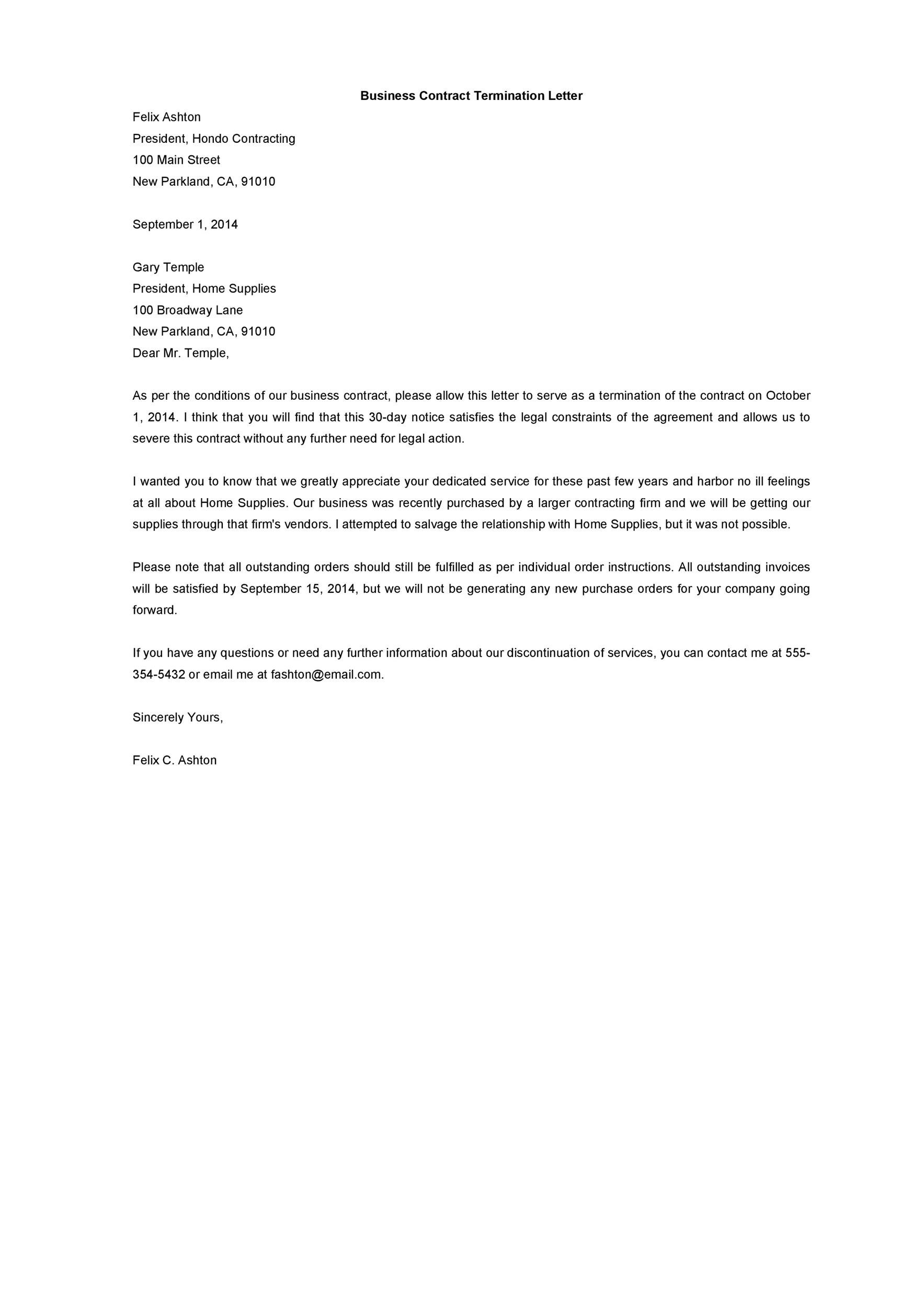 termination letter template 35 letter to terminate a contract