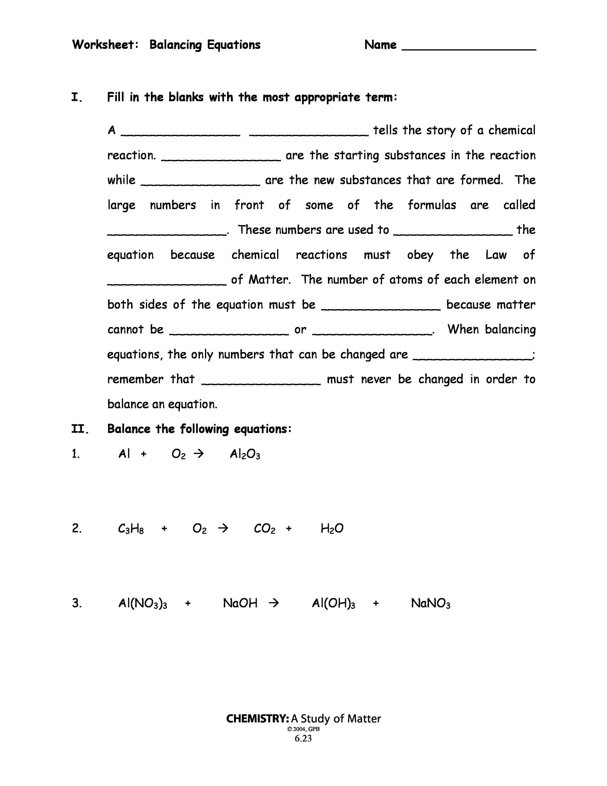 balancing chemical equations worksheets - Balancing Equations Worksheet Answers