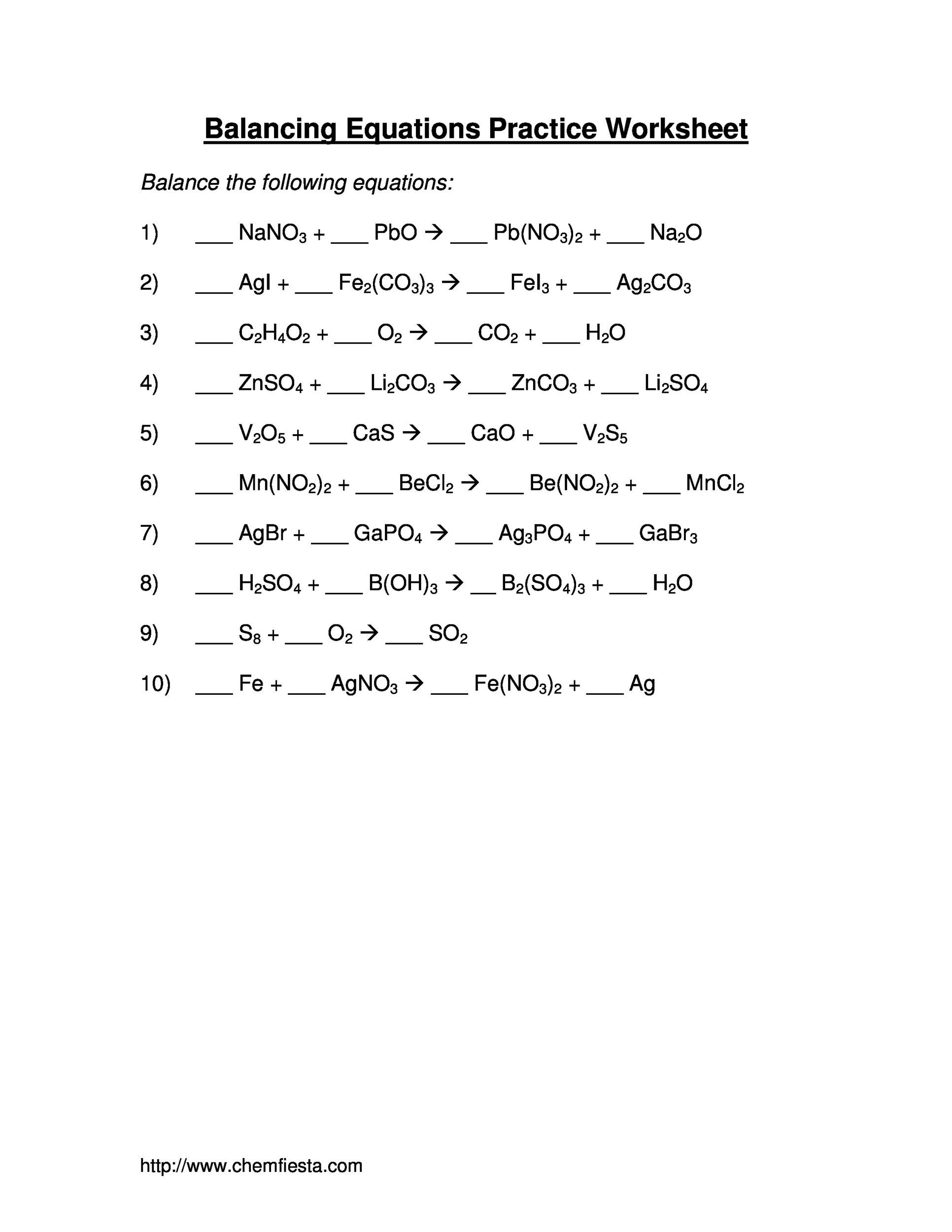 Balancing Chemical Equations Practice Worksheet With Answers Free
