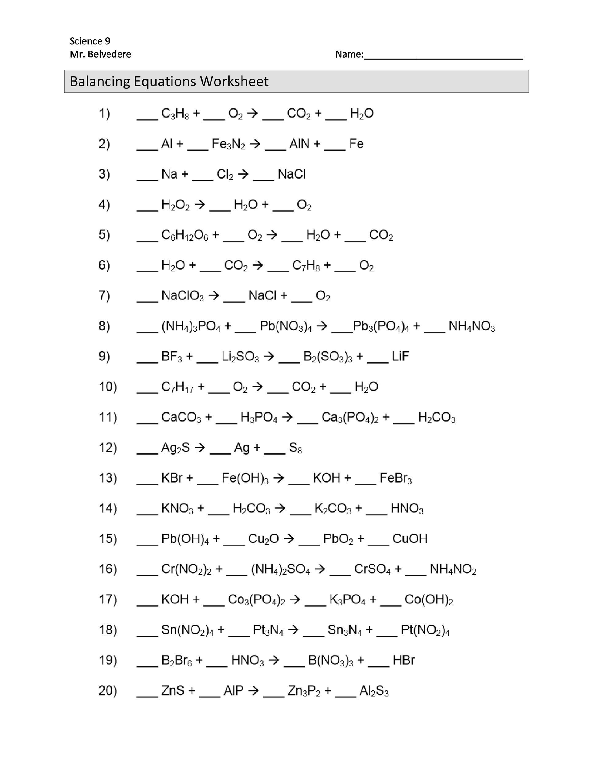 balancing equations worksheets with answers - Balancing Equations Worksheet Answers