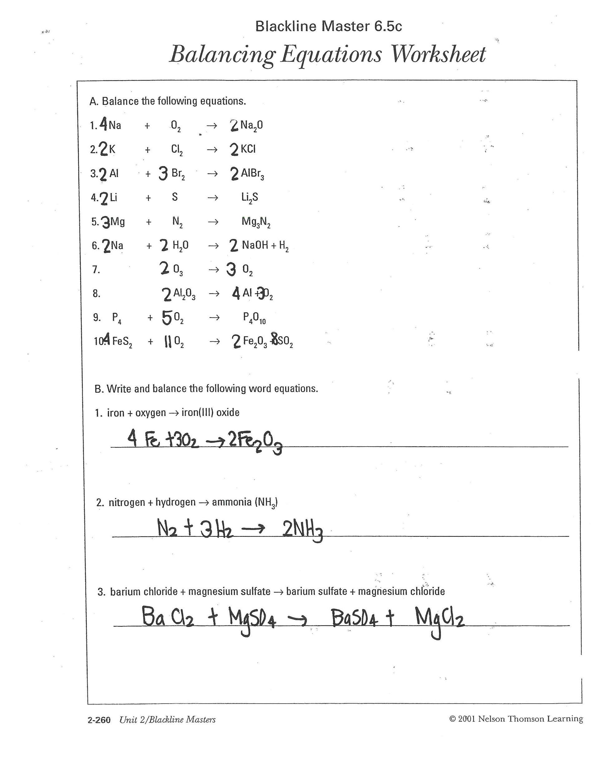 Free balancing equations 15