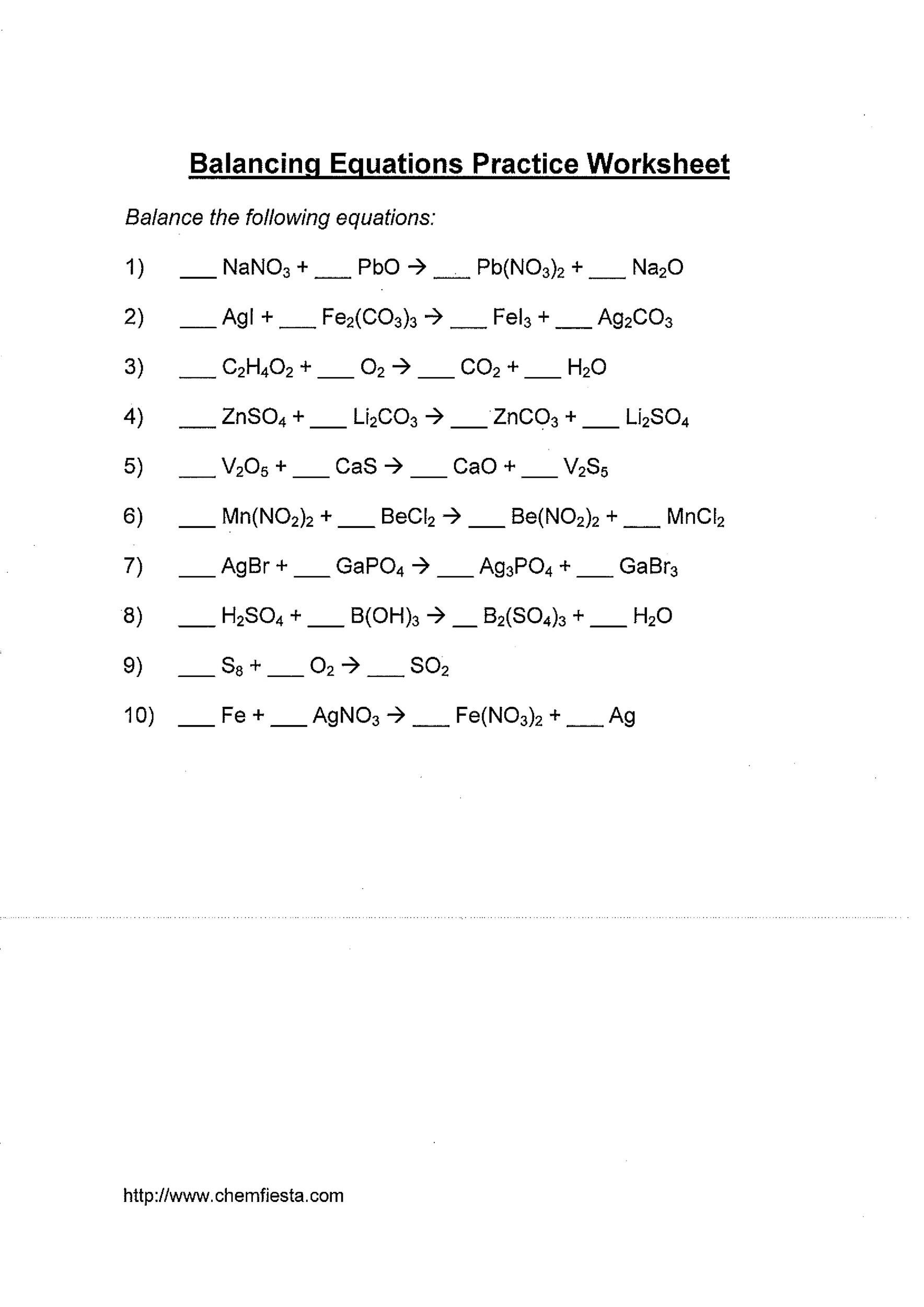 49 Balancing Chemical Equations Worksheets With Answers. Free Balancing Equations 19. Worksheet. Balancing Equations Worksheet At Mspartners.co