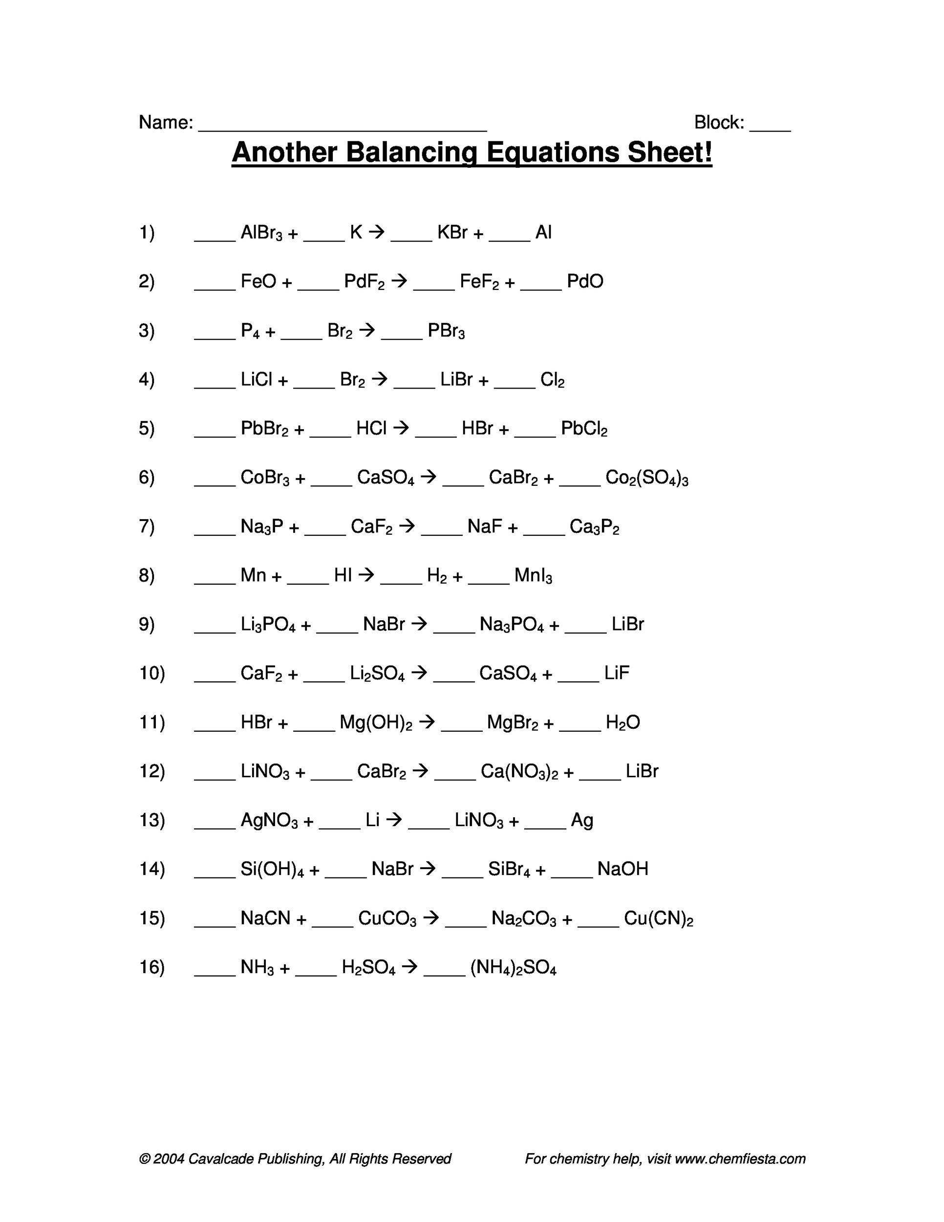 Free balancing equations 20