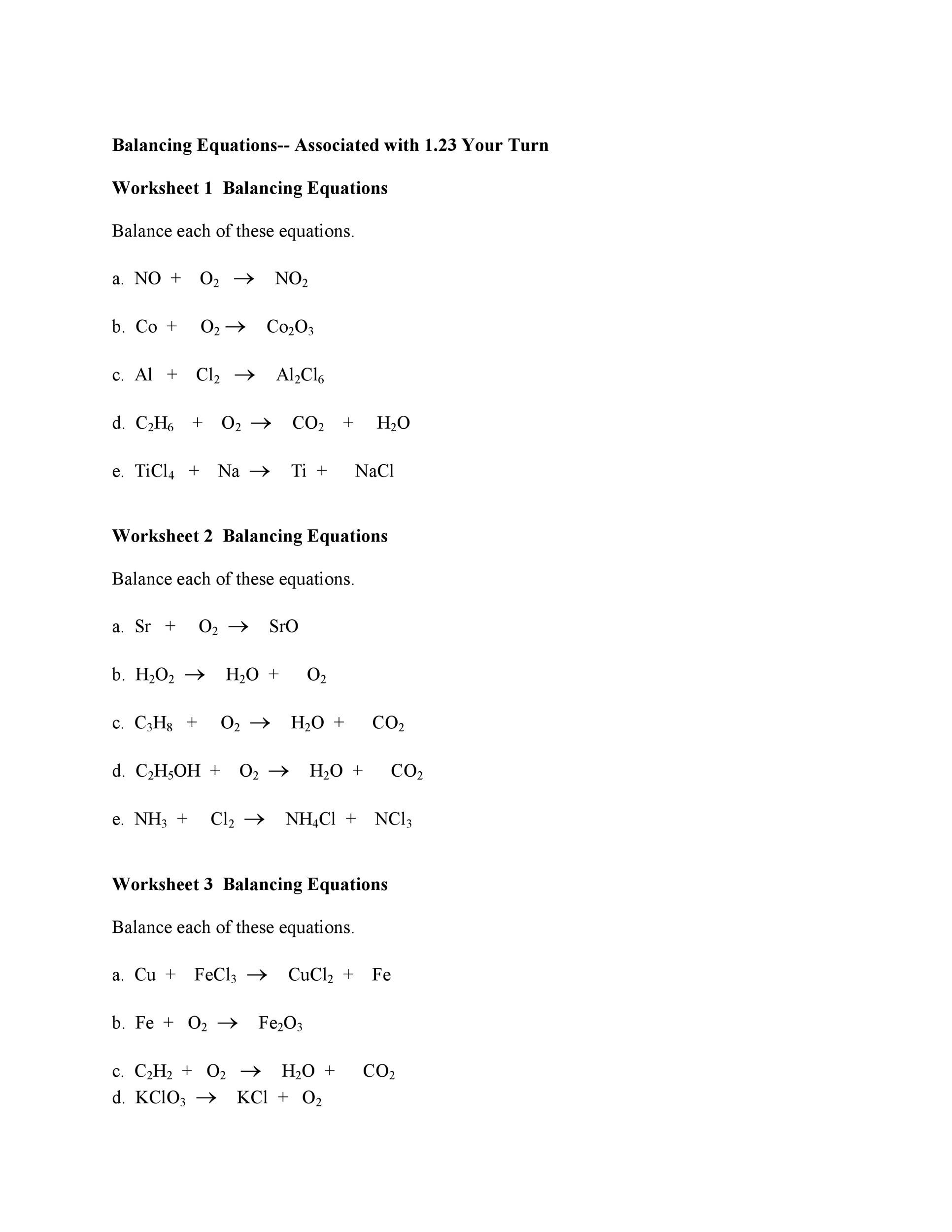 Balance Chemical Equation Worksheet – Chemistry Balancing Chemical Equations Worksheet