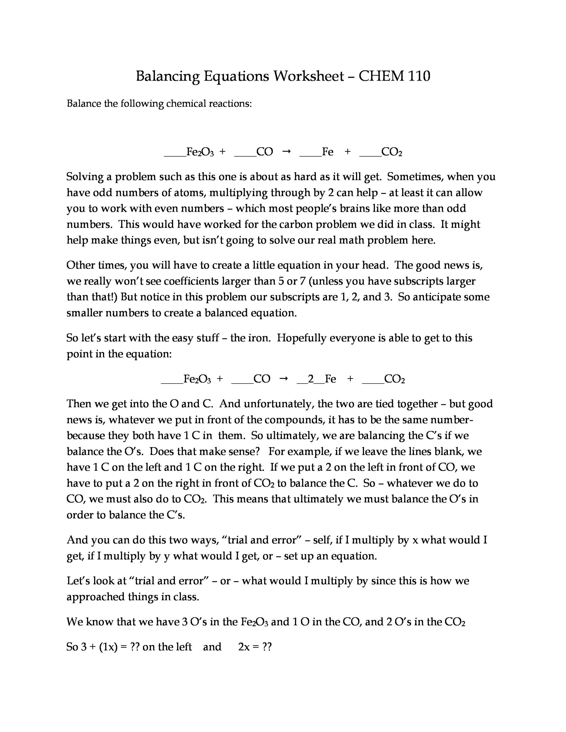 49 Balancing Chemical Equations Worksheets with Answers – Easy Balancing Equations Worksheet