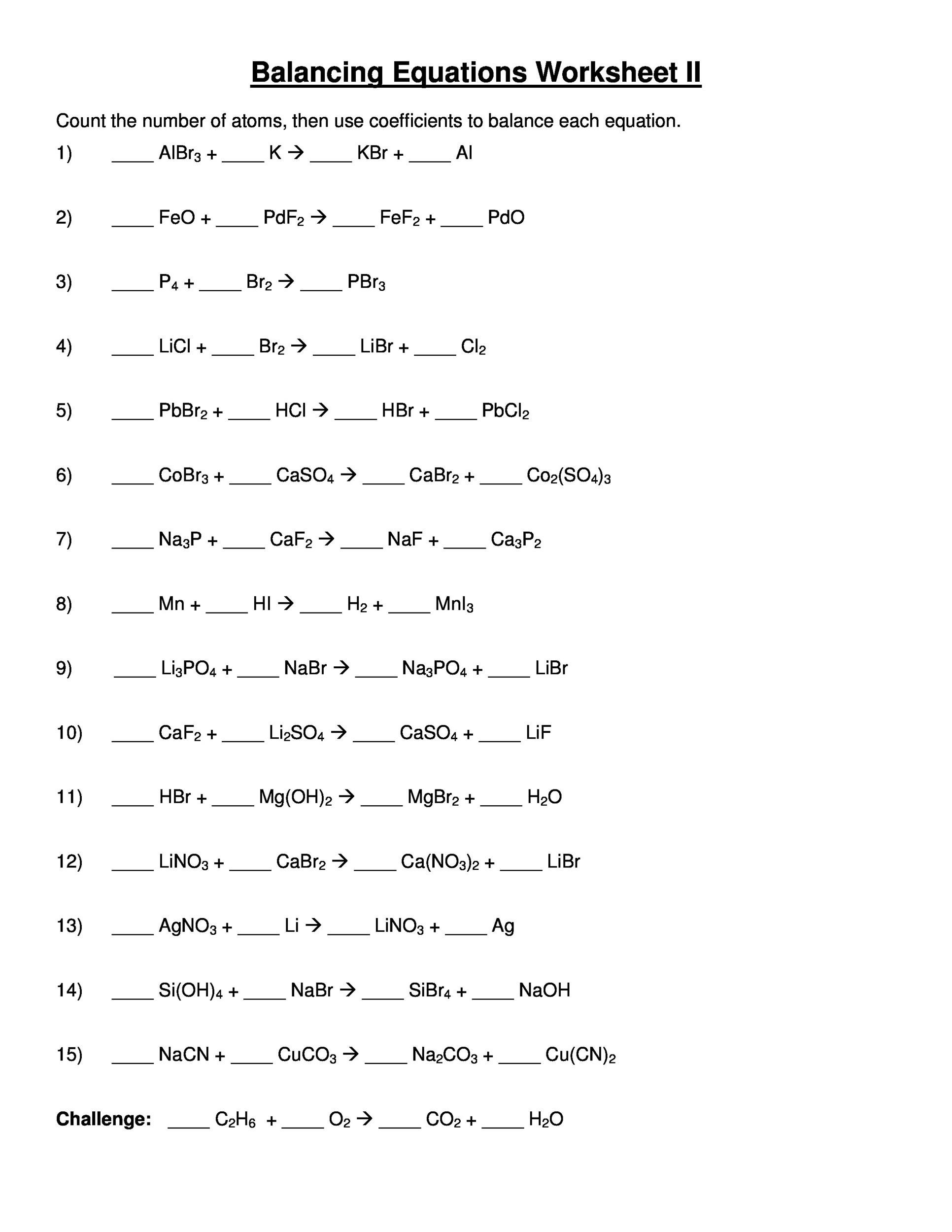 Balancing equations worksheet answer key about chemistry