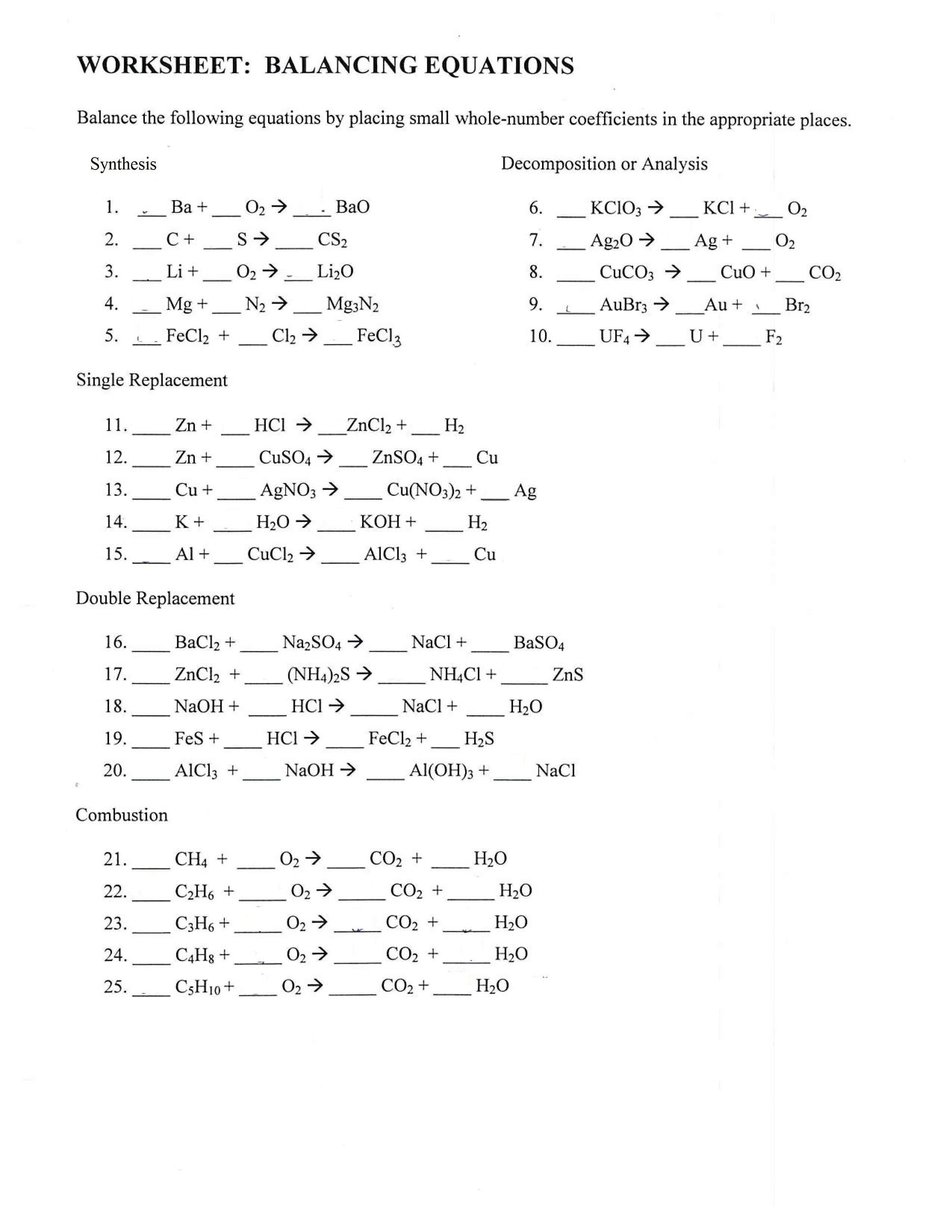 30 Balancing Equations Practice Worksheet Answers - Free ...