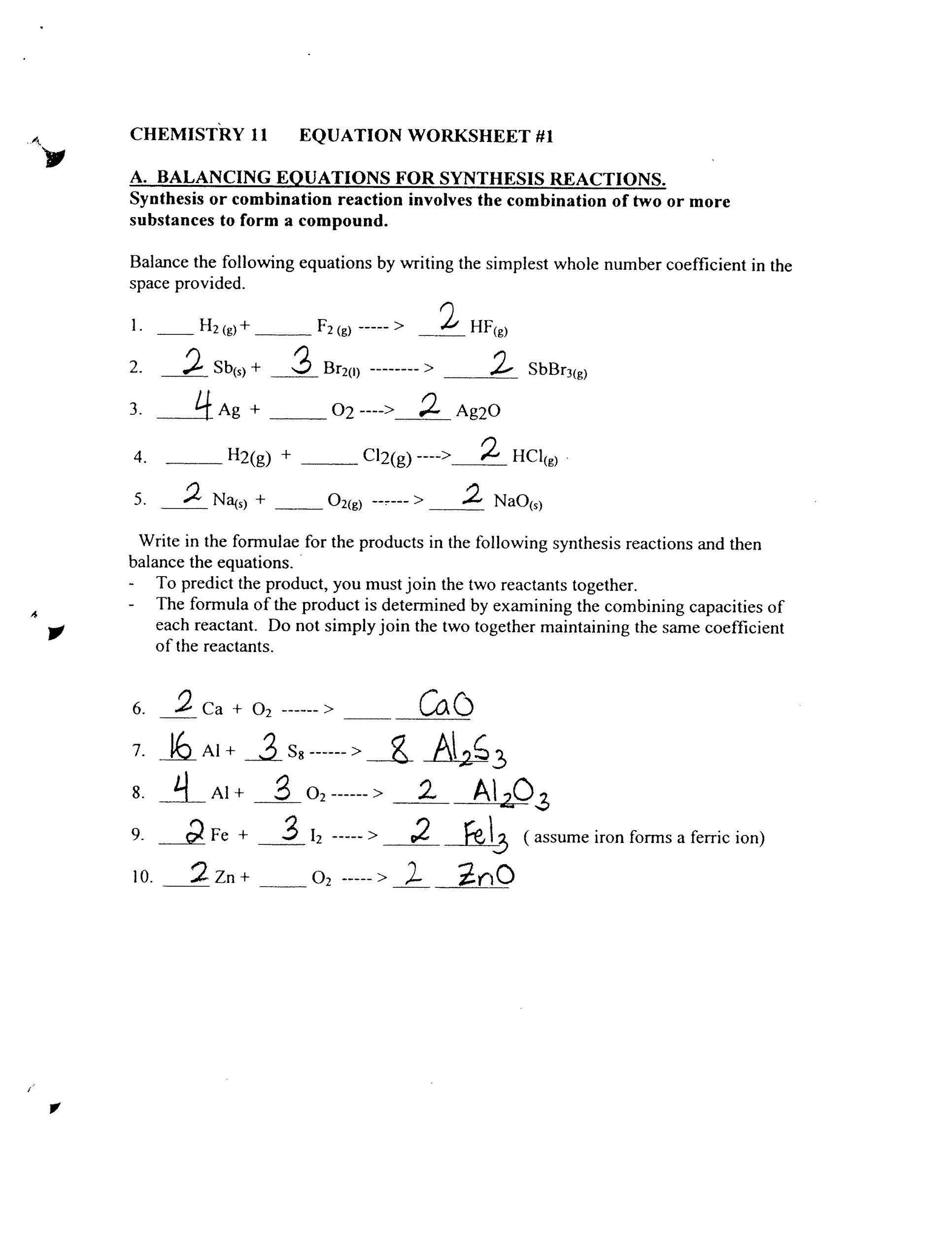 49 Balancing Chemical Equations Worksheets with Answers – Worksheet 2 Synthesis Reactions