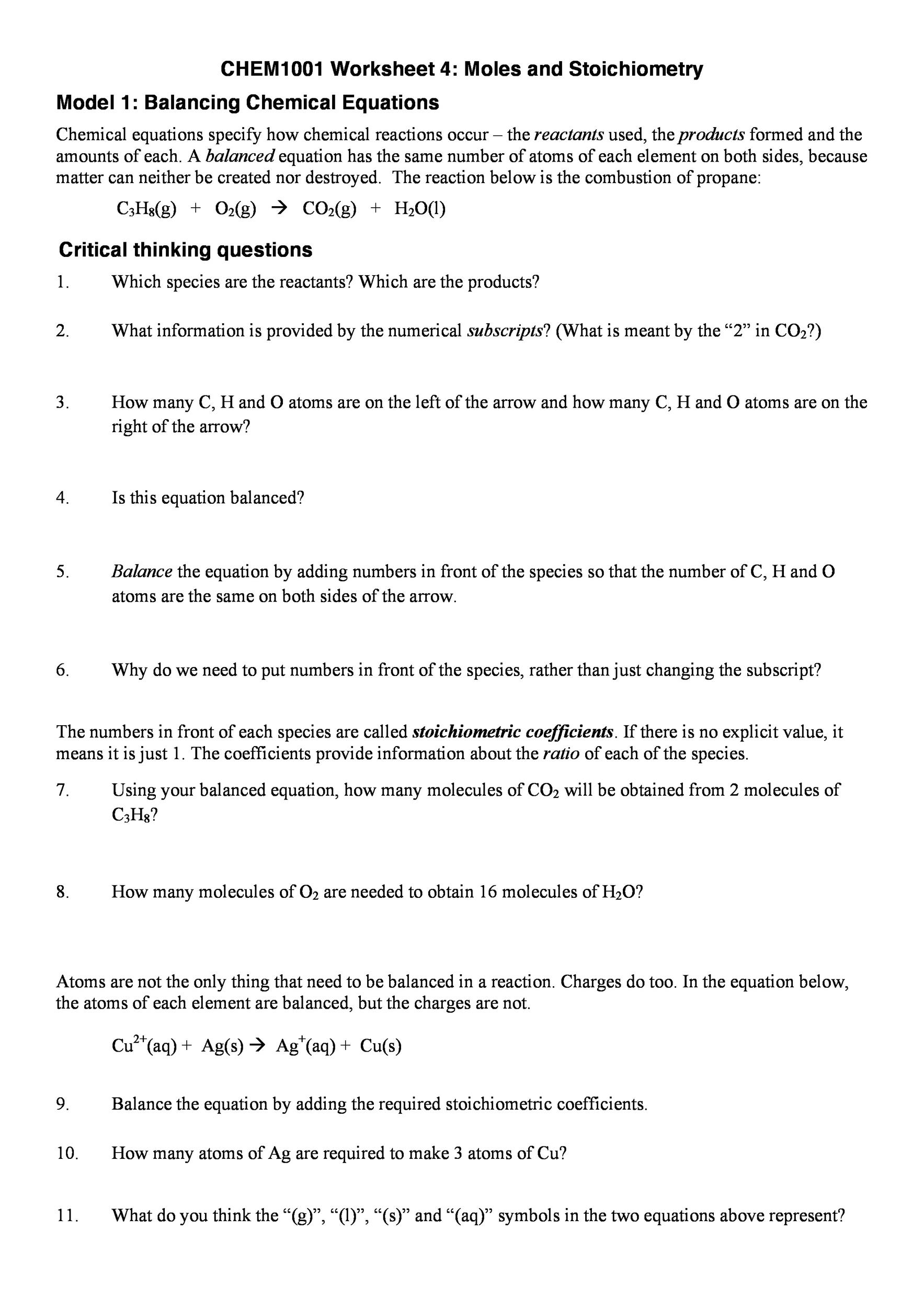 worksheet Balancing Chemical Equations Worksheet 1 Answer Key chemical equations and stoichiometry answers tessshebaylo 49 balancing worksheets with answers