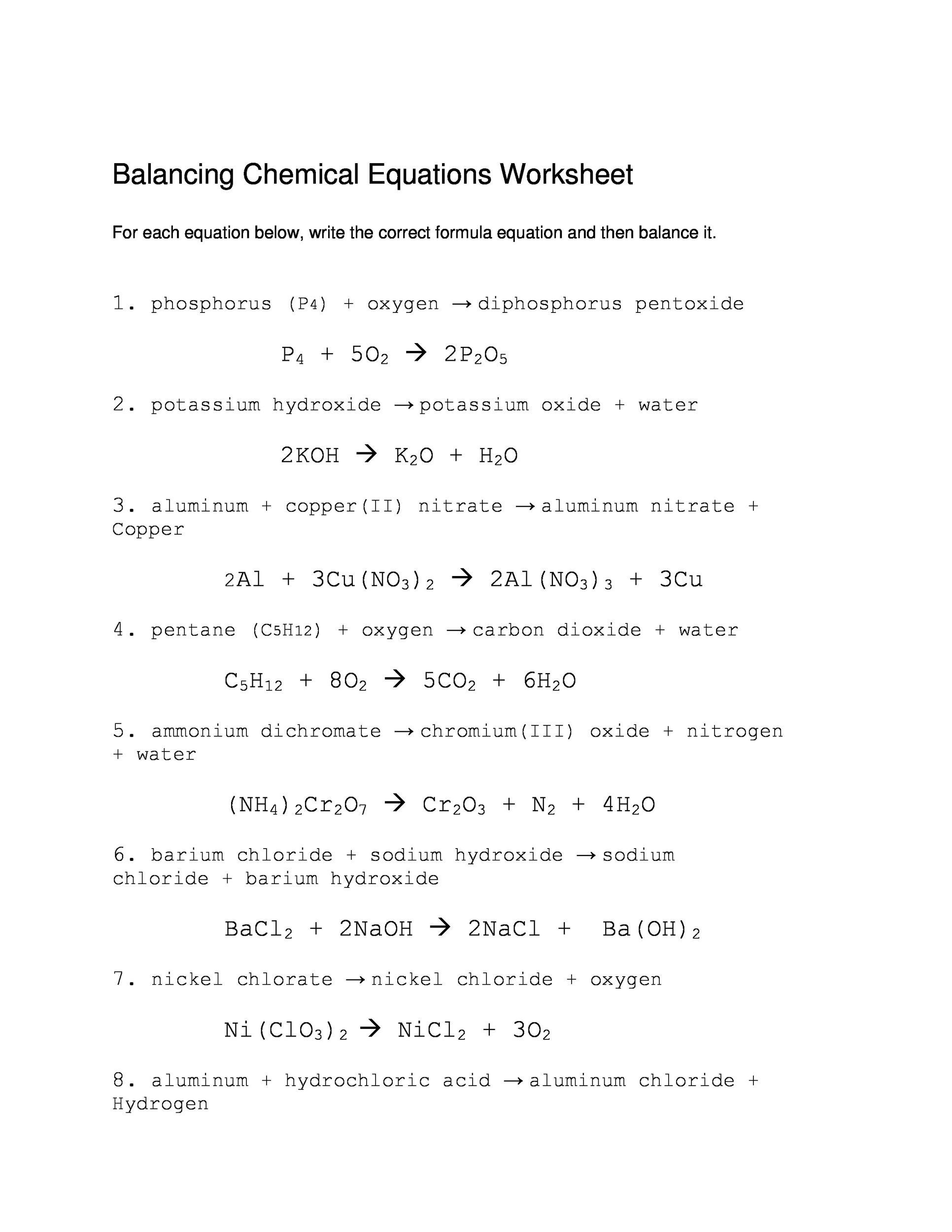 Balancing Chemical Equations Practice Worksheet With Answers – Balancing Equations Chemistry Worksheet