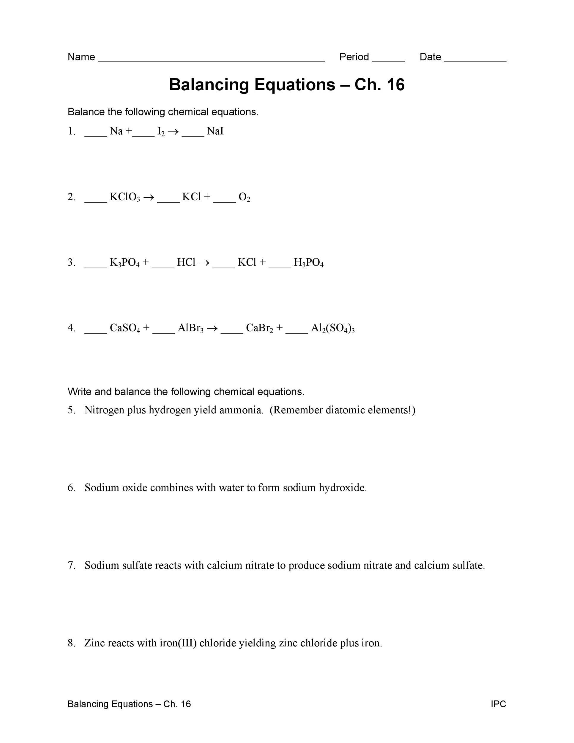 Free balancing equations 33