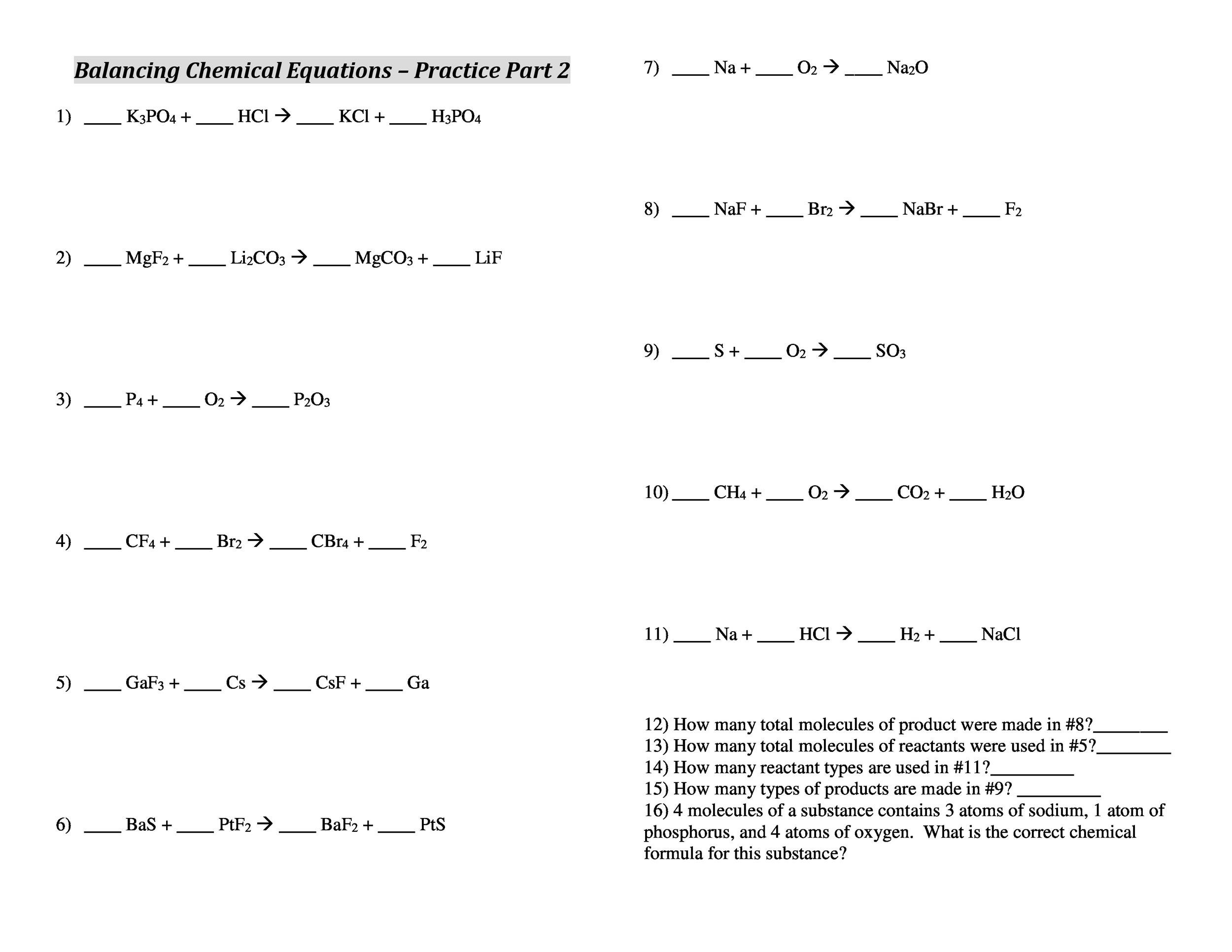 49 Balancing Chemical Equations Worksheets With Answers. Free Balancing Equations 38. Worksheet. Balancing Equations Worksheet Answer Key At Mspartners.co