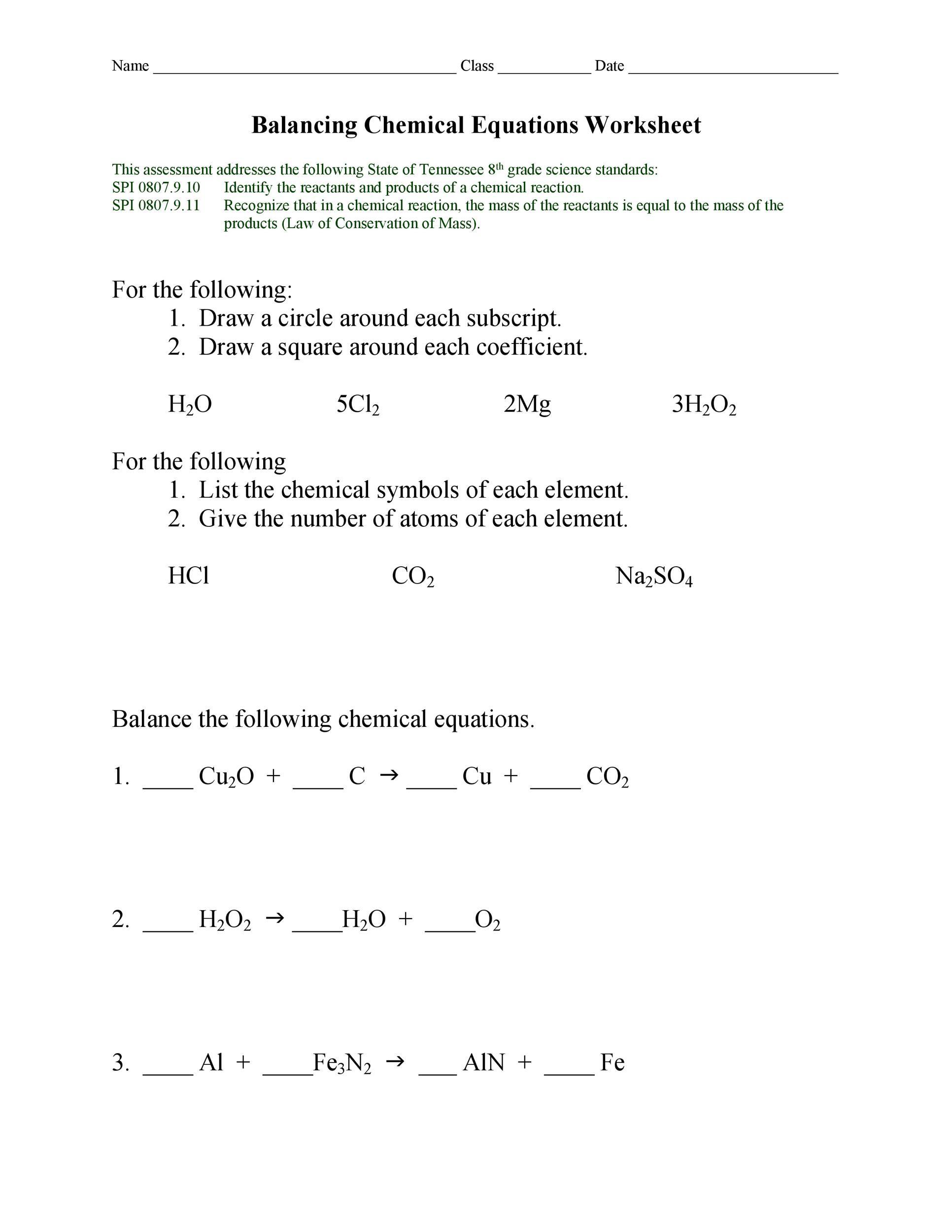 Balancing chemical equations worksheets pdf