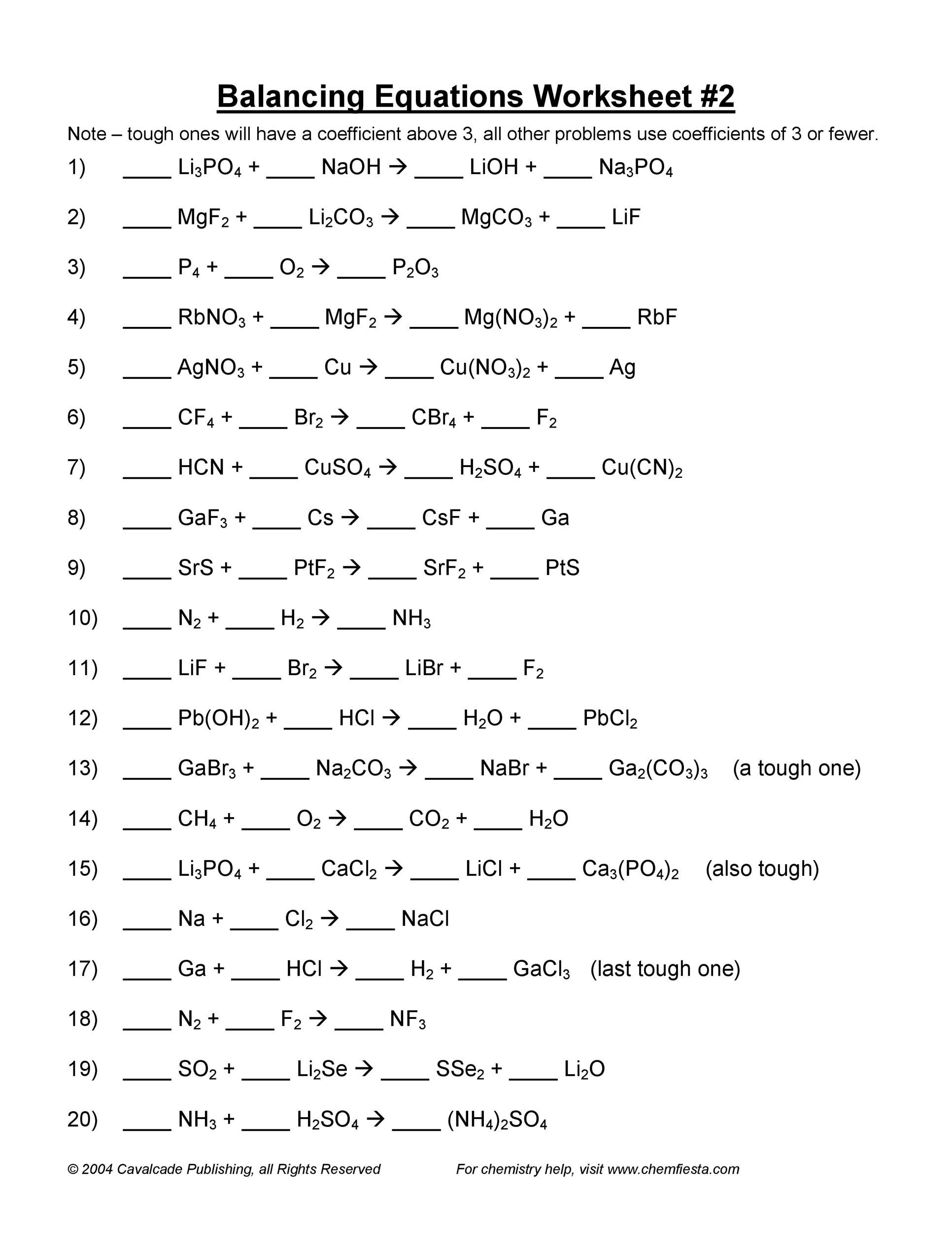 32 Balancing Equations Worksheet Answers - Worksheet ...