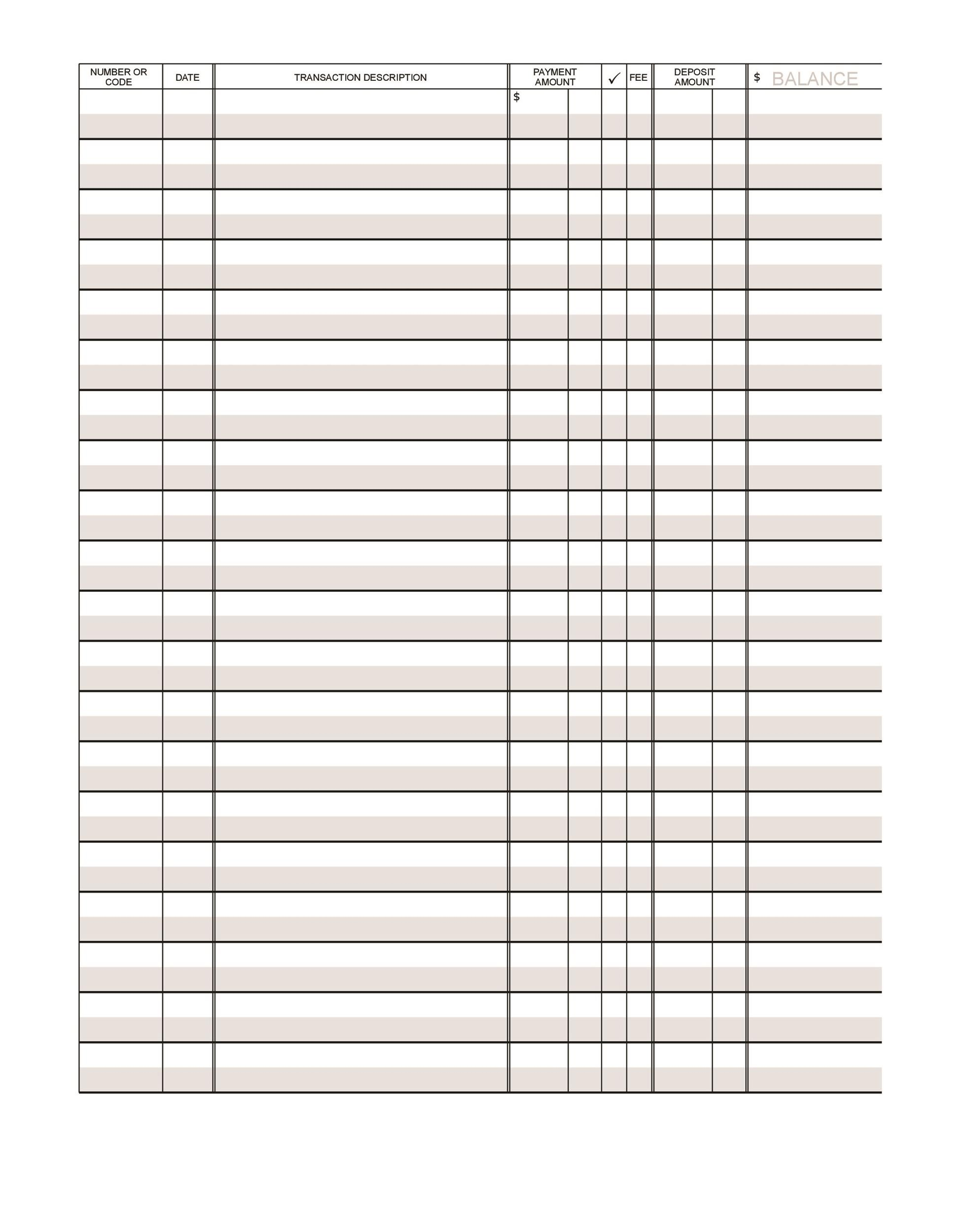 photograph regarding Printable Bank Ledger named 37 Checkbook Sign-up Templates [100% Absolutely free, Printable] ᐅ
