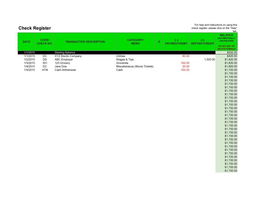 Free checkbook register 05