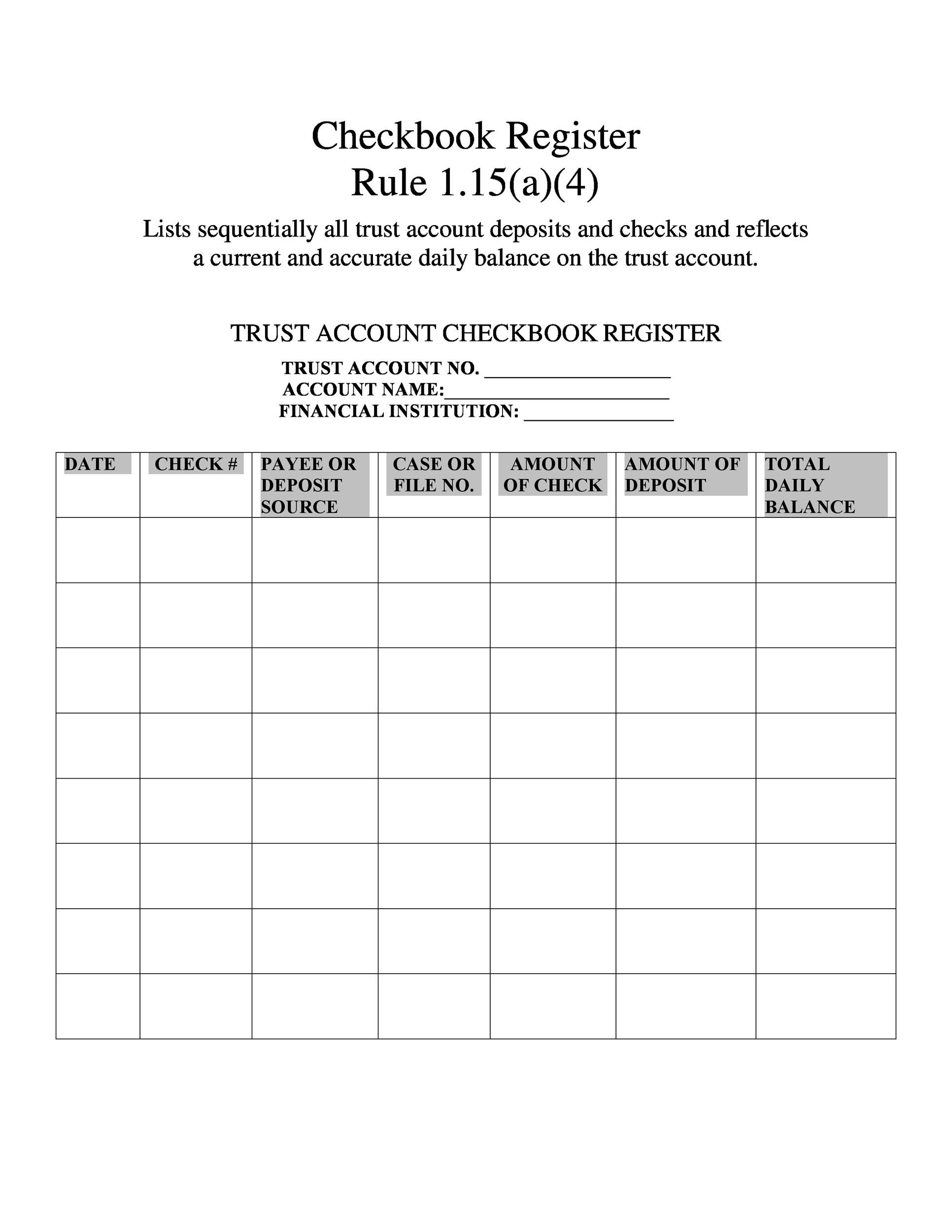 37 checkbook register templates 100 free printable template lab