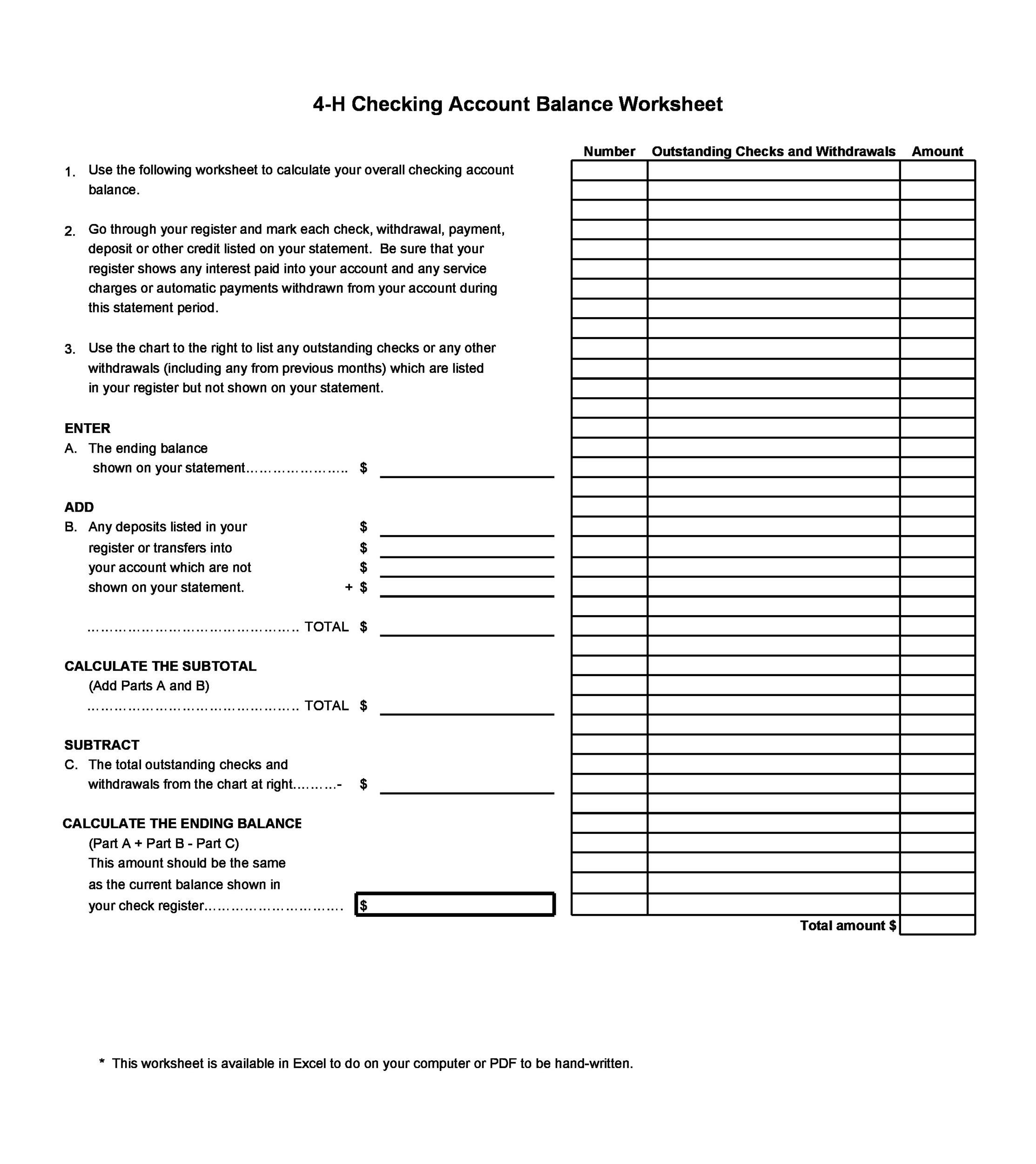 Balancing checkbook worksheet excel