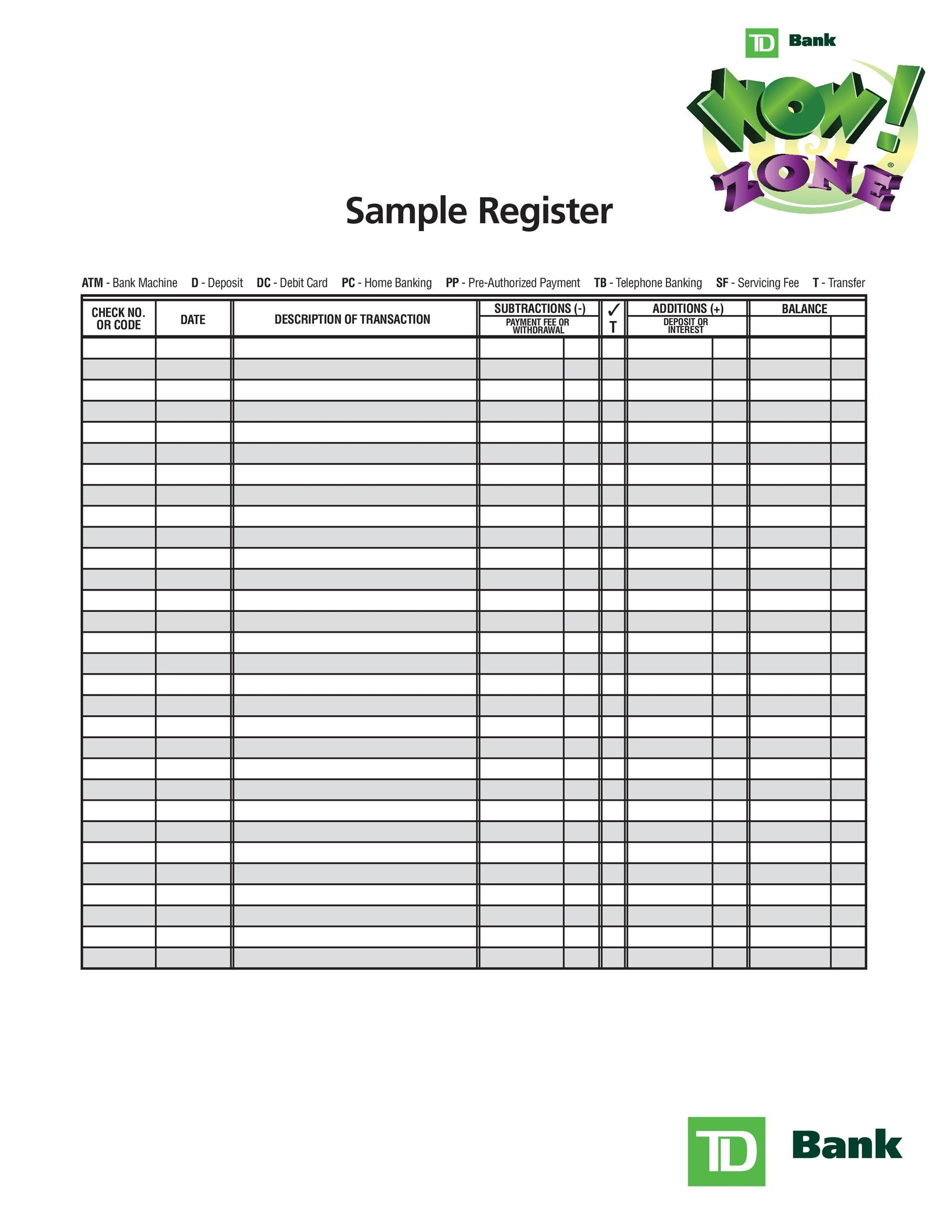 photograph about Printable Check Register Front and Back named 37 Checkbook Sign-up Templates [100% Absolutely free, Printable] ᐅ