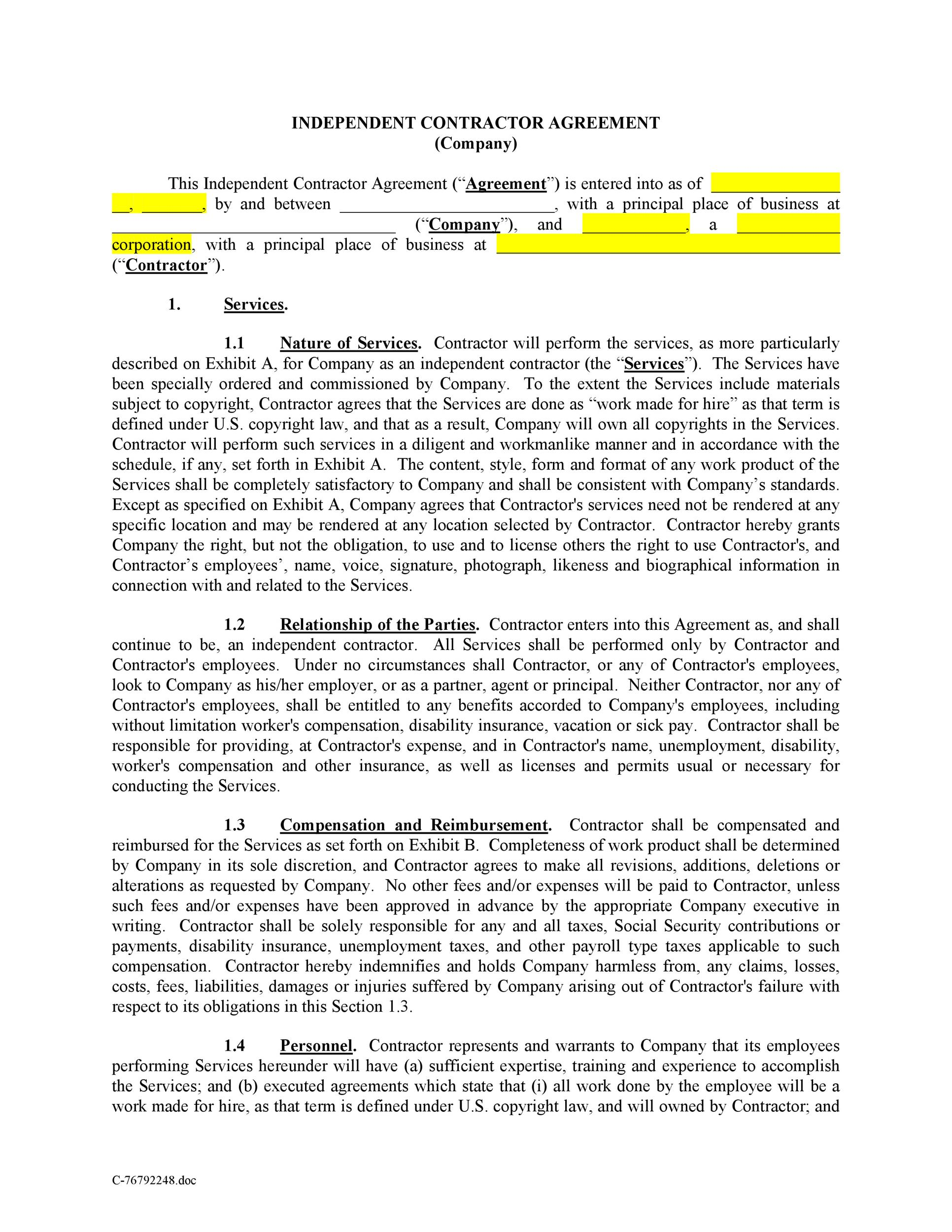 Free independent contractor agreement 01