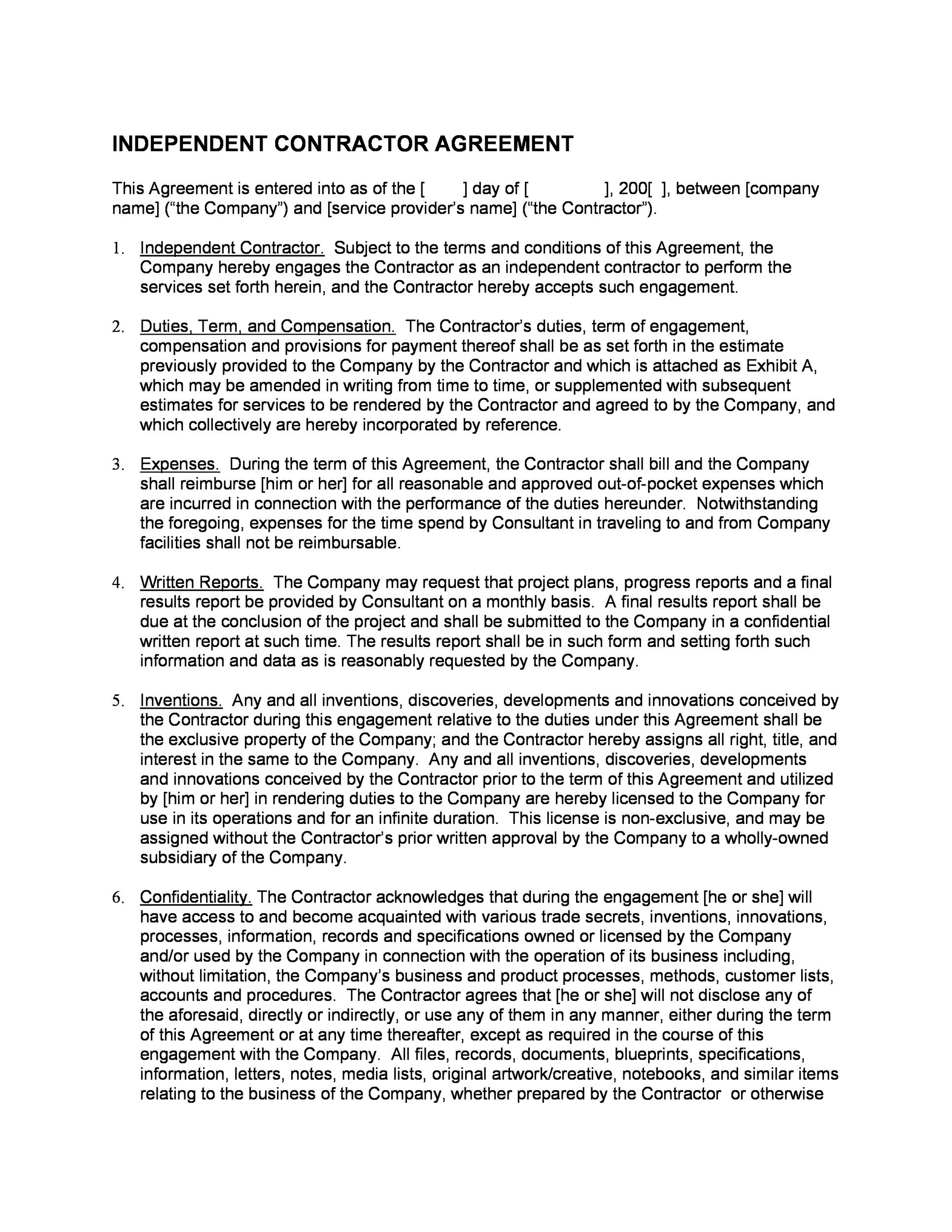 Printable Independent Contractor Agreement 06