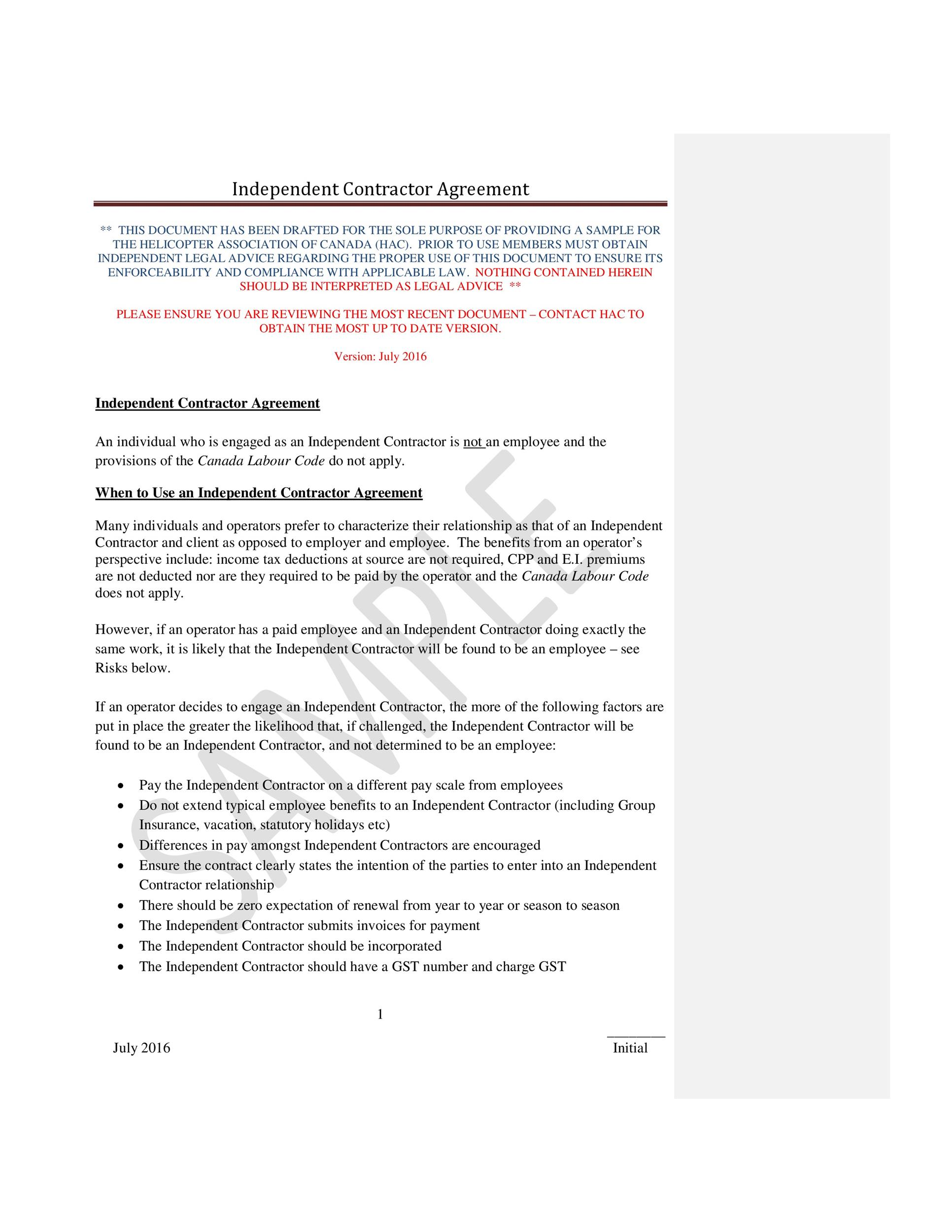 Free independent contractor agreement 08