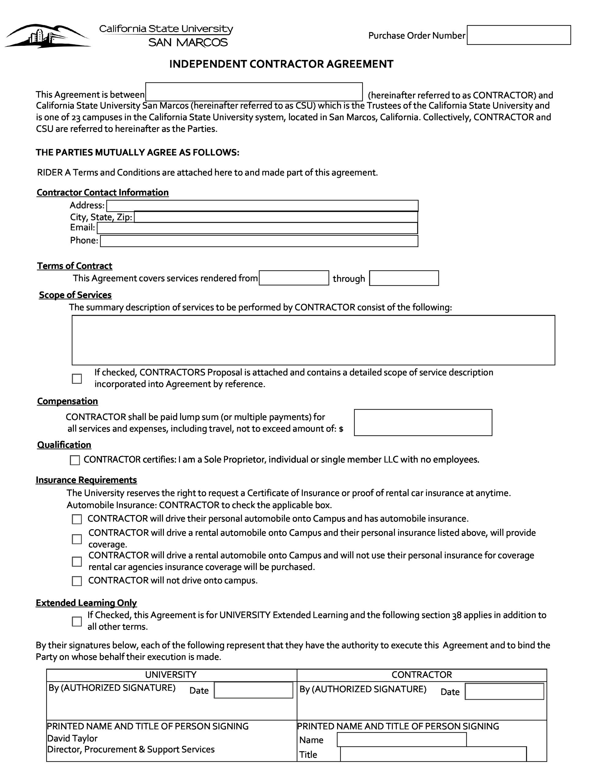 Free Independent Contractor Agreement Forms  Templates