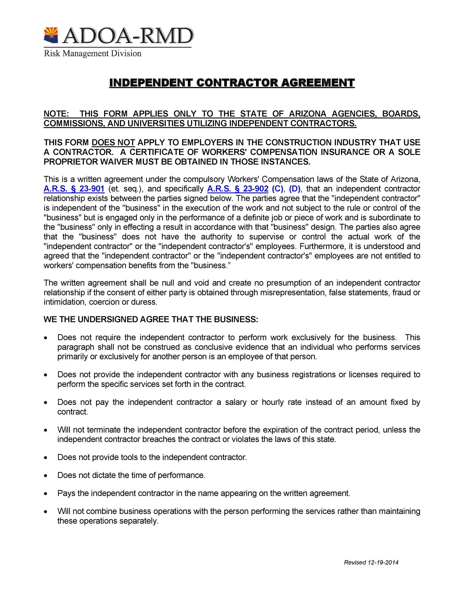 50 FREE Independent Contractor Agreement Forms Templates – Simple Construction Contract Form