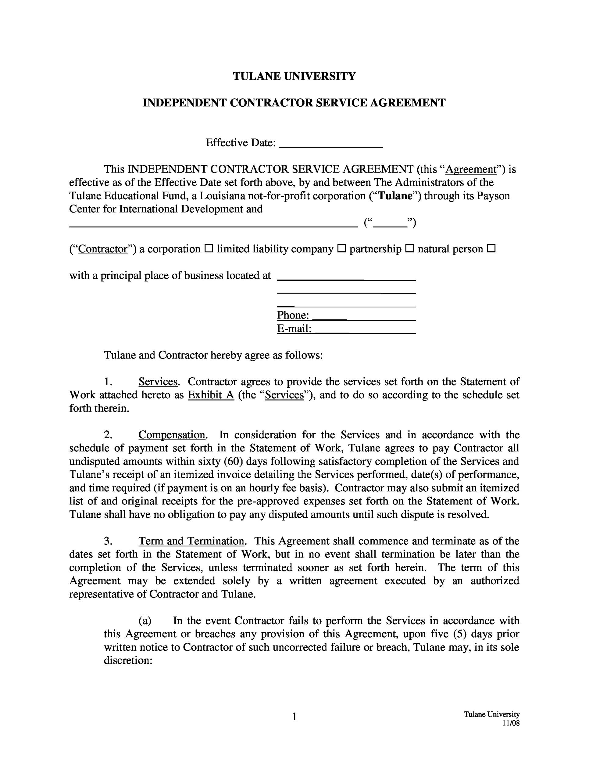 Independent Contractor Agreement Free Template Suyhi