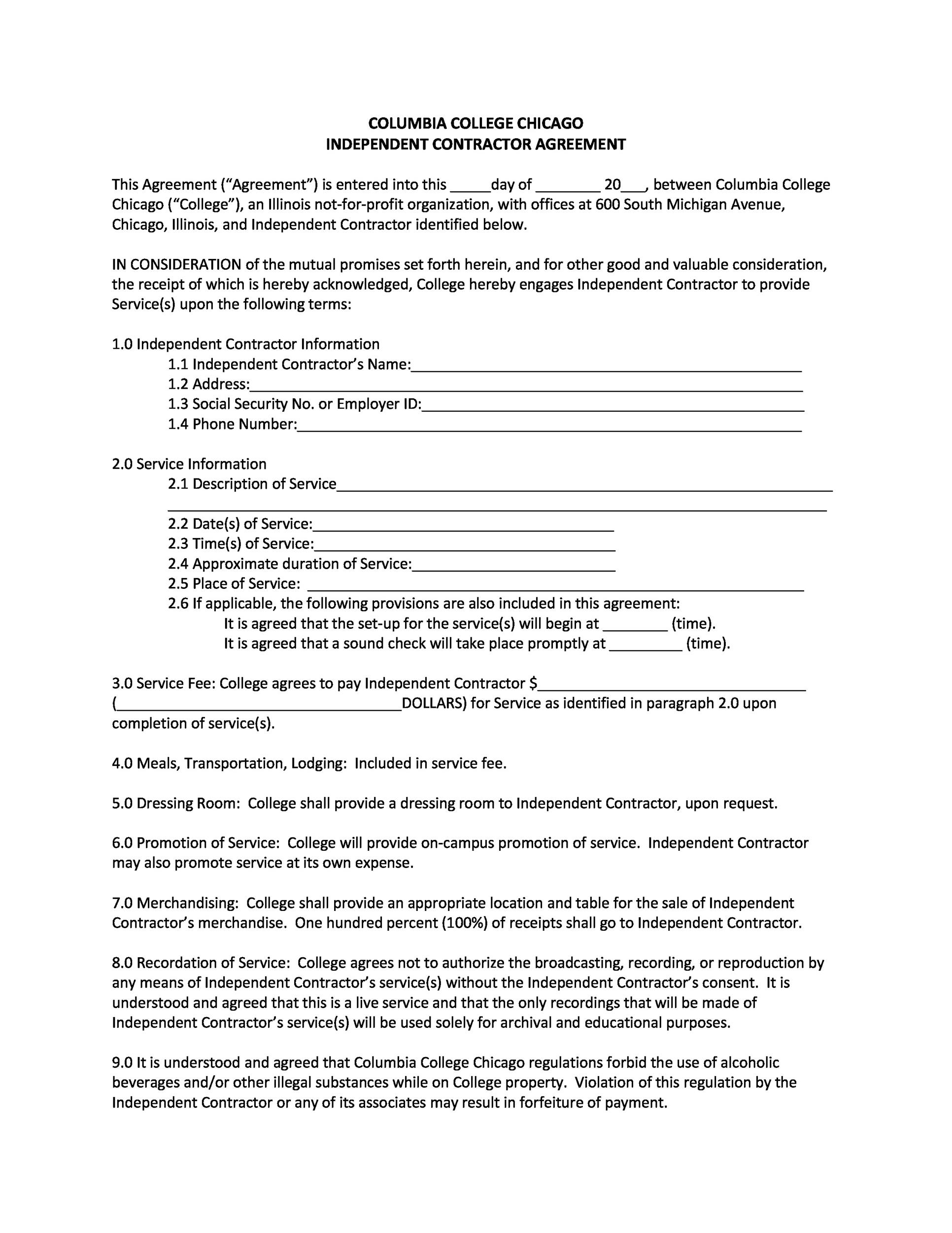 Printable Independent Contractor Agreement 16  Contractor Agreement Template Word