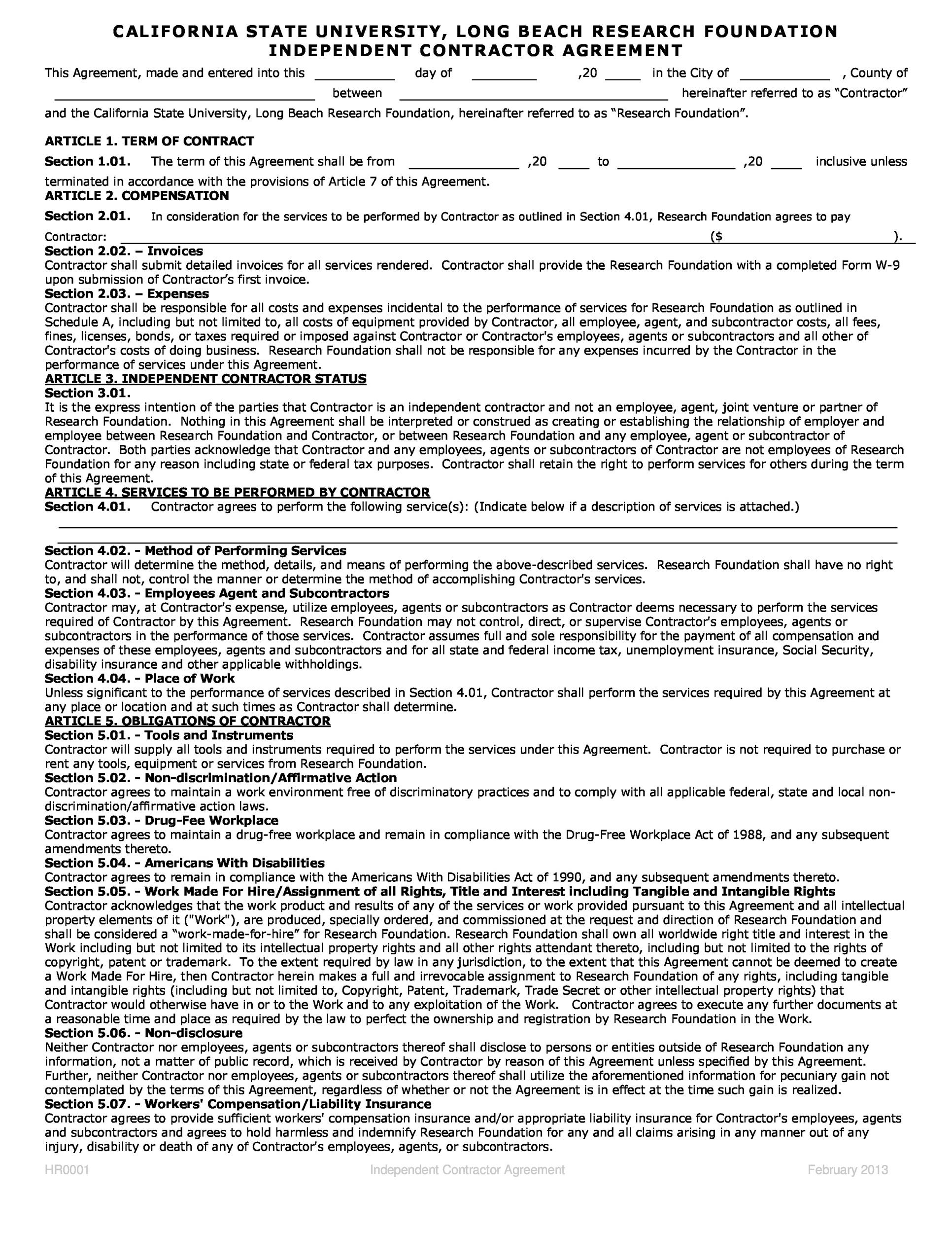 free contractor agreement template