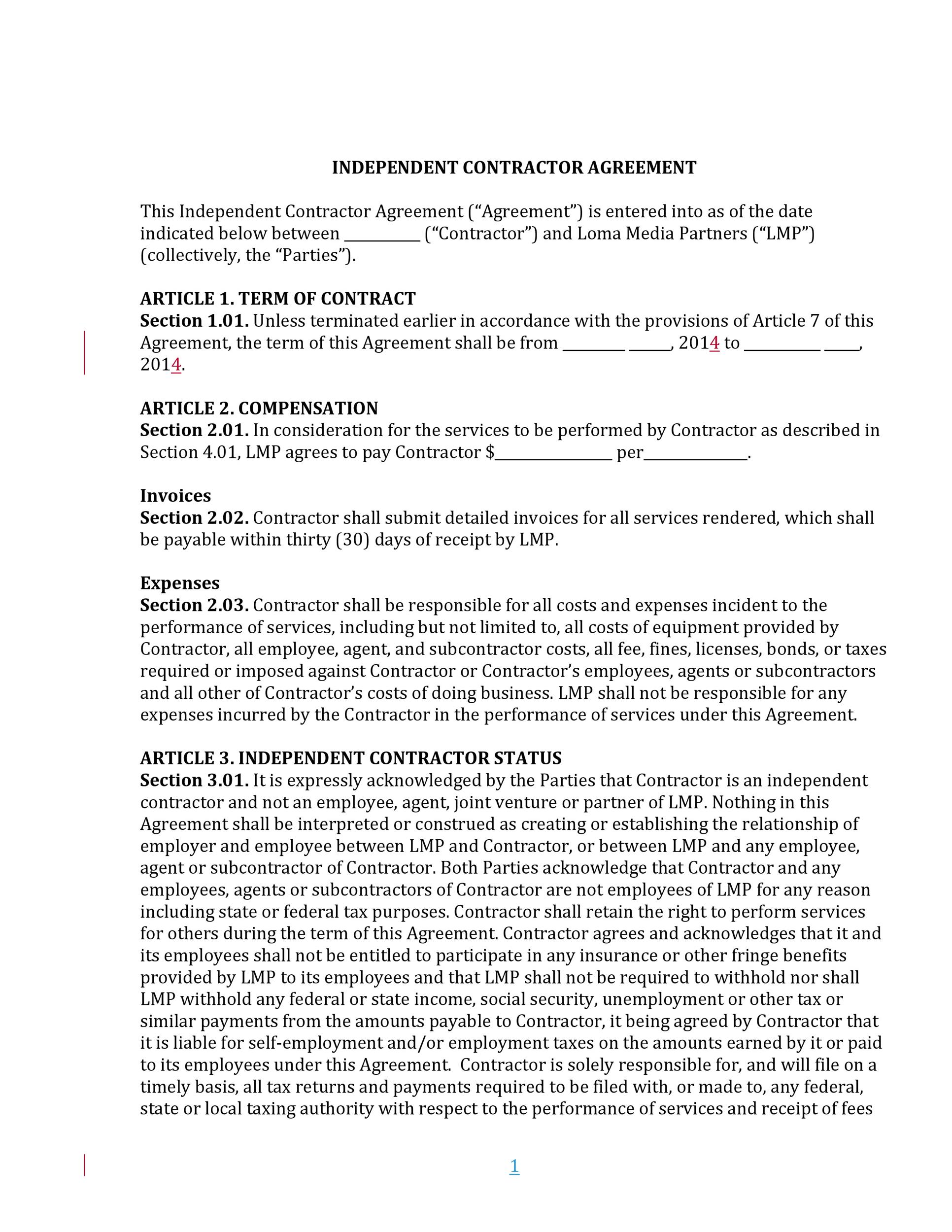 Free independent contractor agreement 23