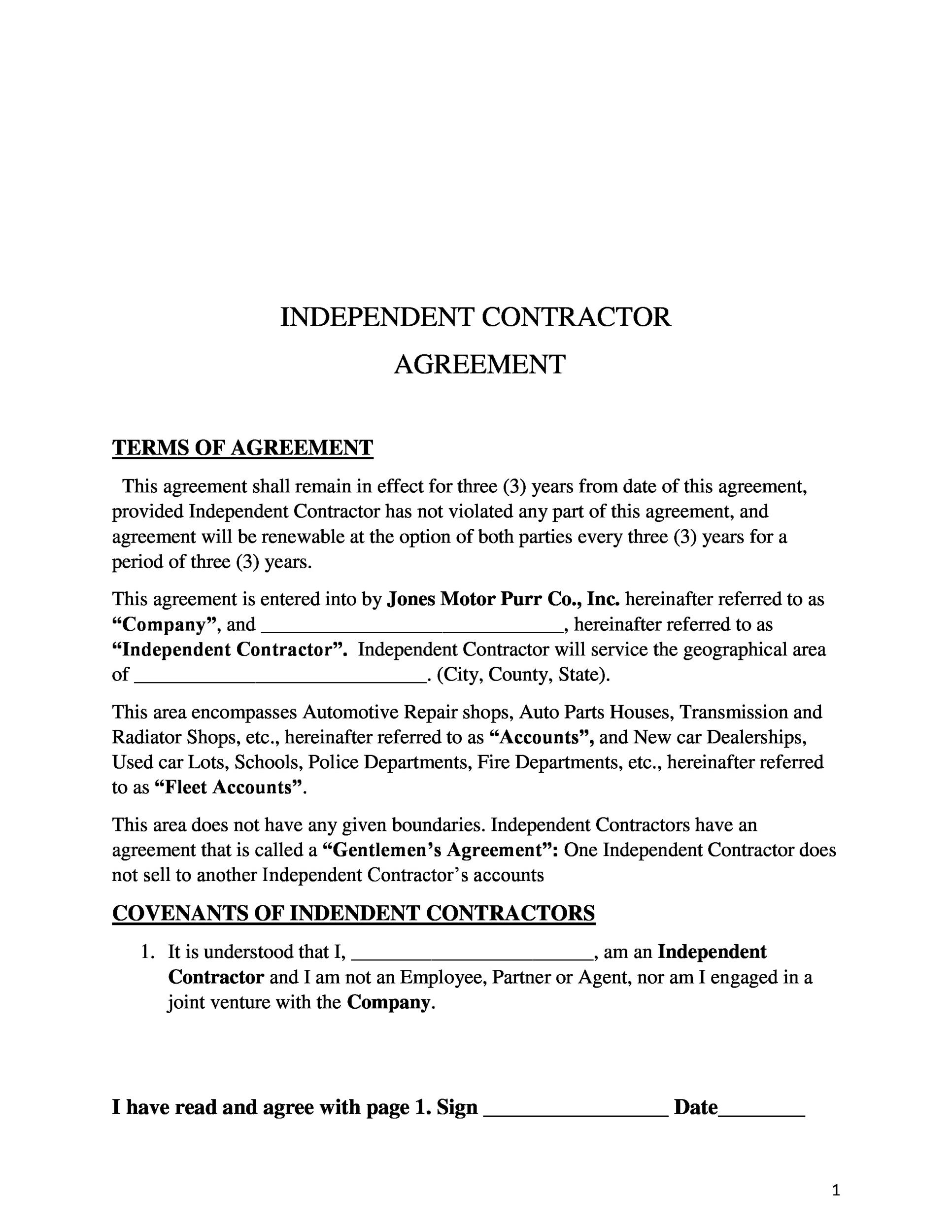 Free independent contractor agreement 35