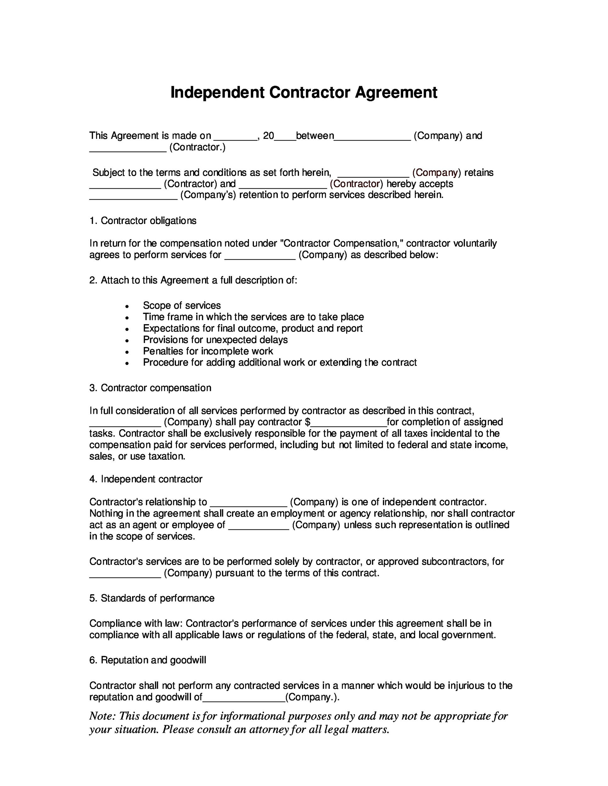 Free independent contractor agreement 36