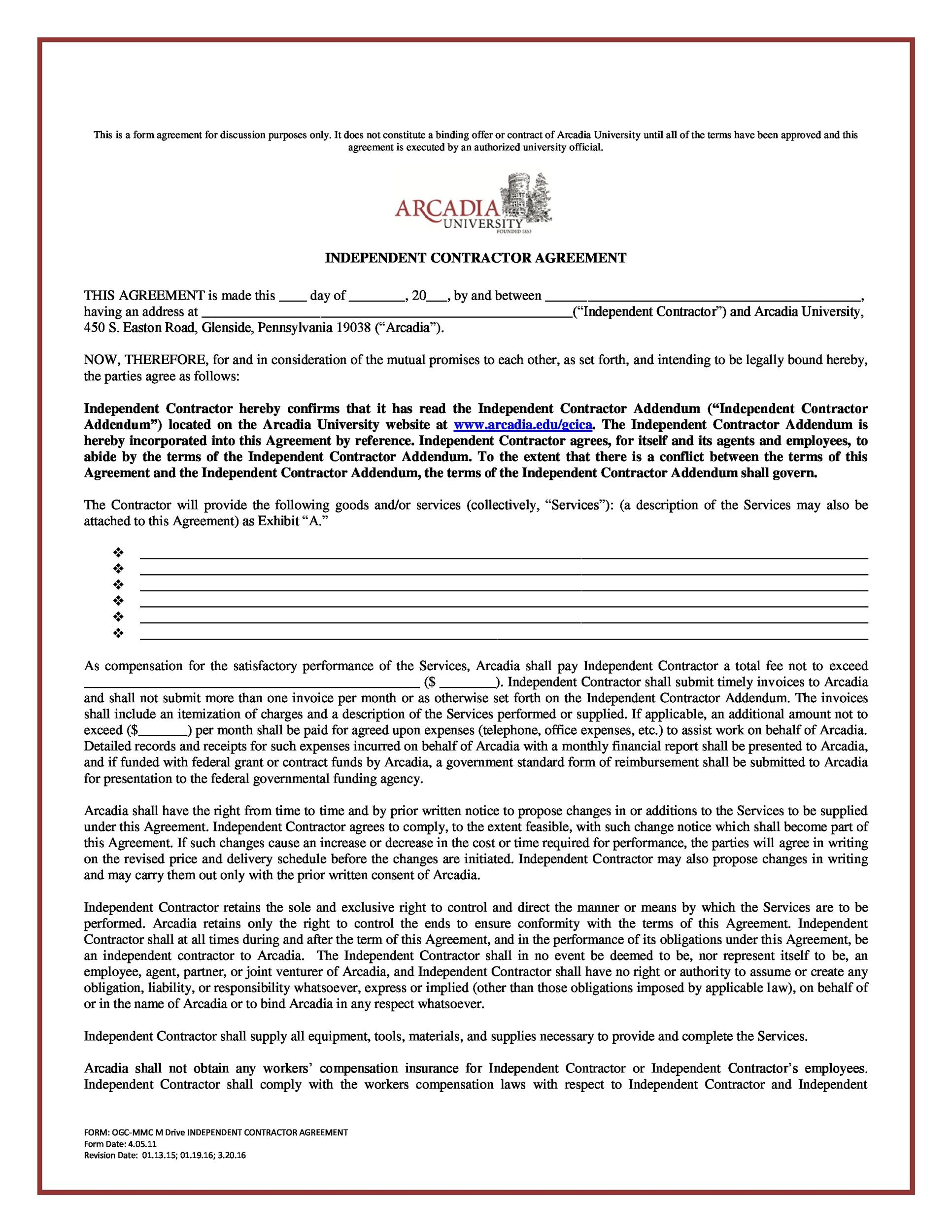50 FREE Independent Contractor Agreement Forms Templates – Independent Agreement Contract