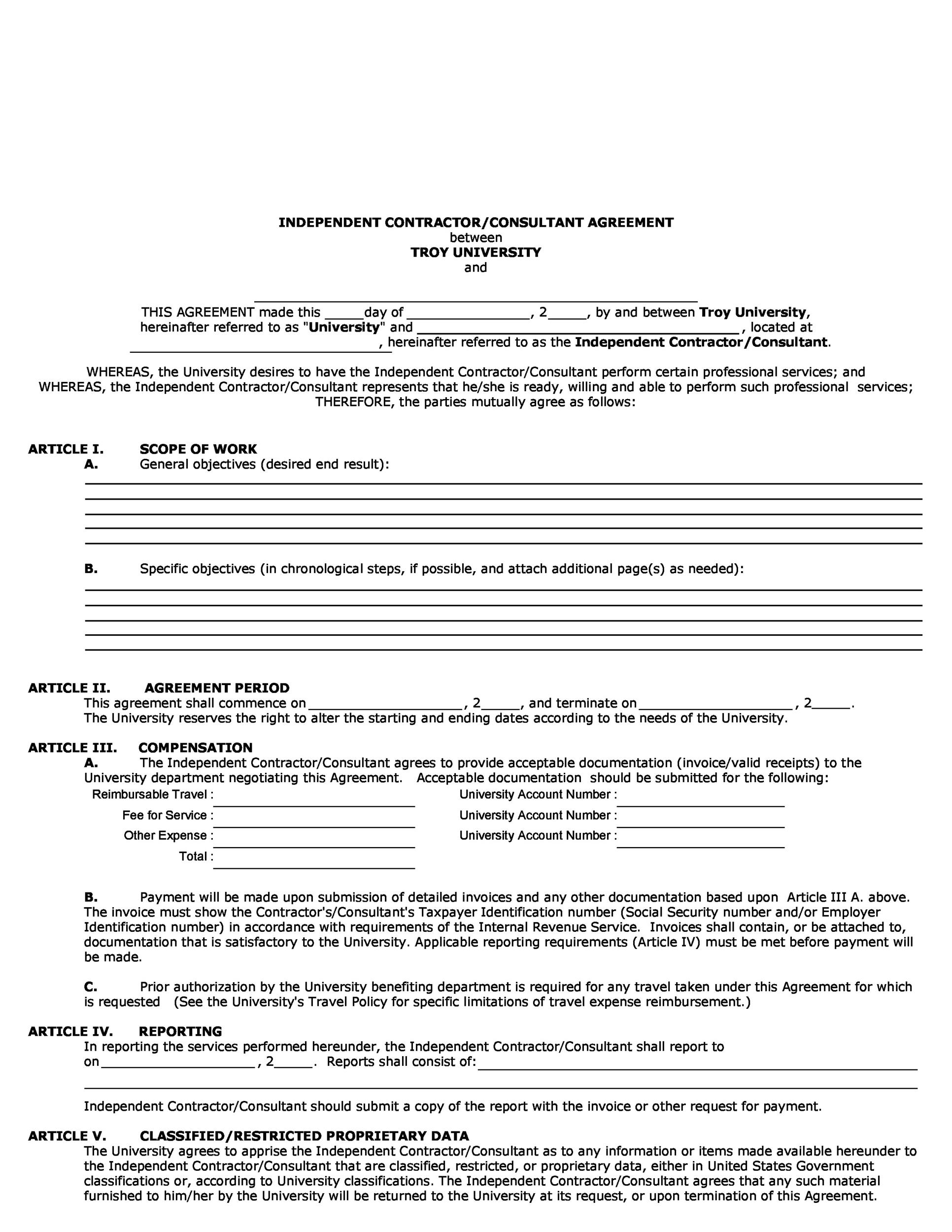 50 free independent contractor agreement forms templates for Cost plus building contract template