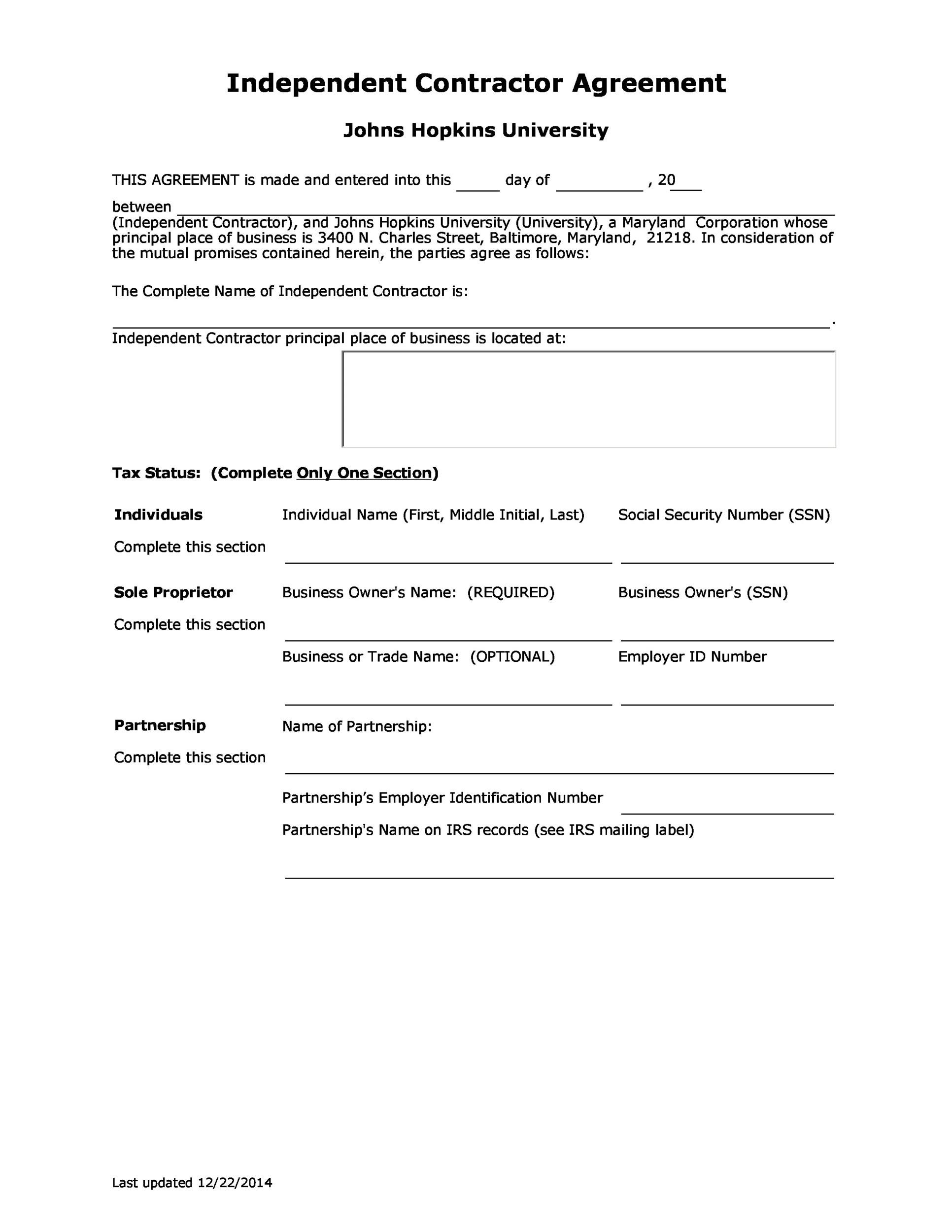 Free independent contractor agreement 50