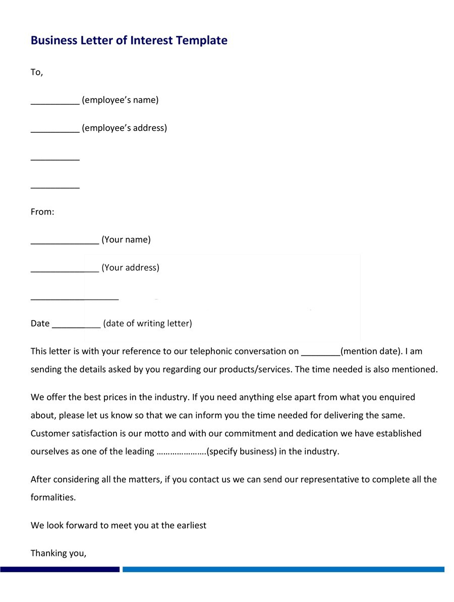 letter of interest template for a job - letter of interest for employment writing employment