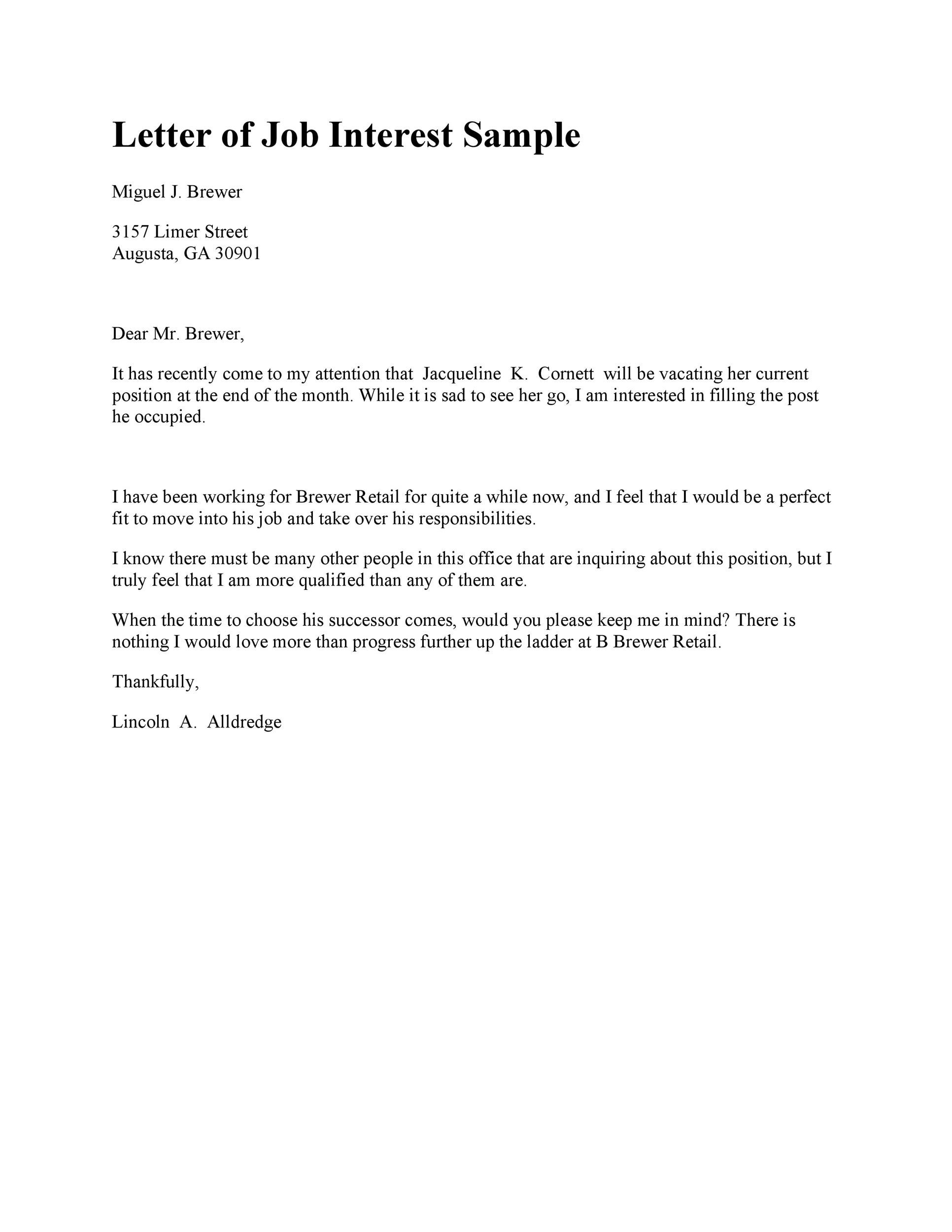 Amazing Letter Of Interest Samples Templates - Job letter of interest sample