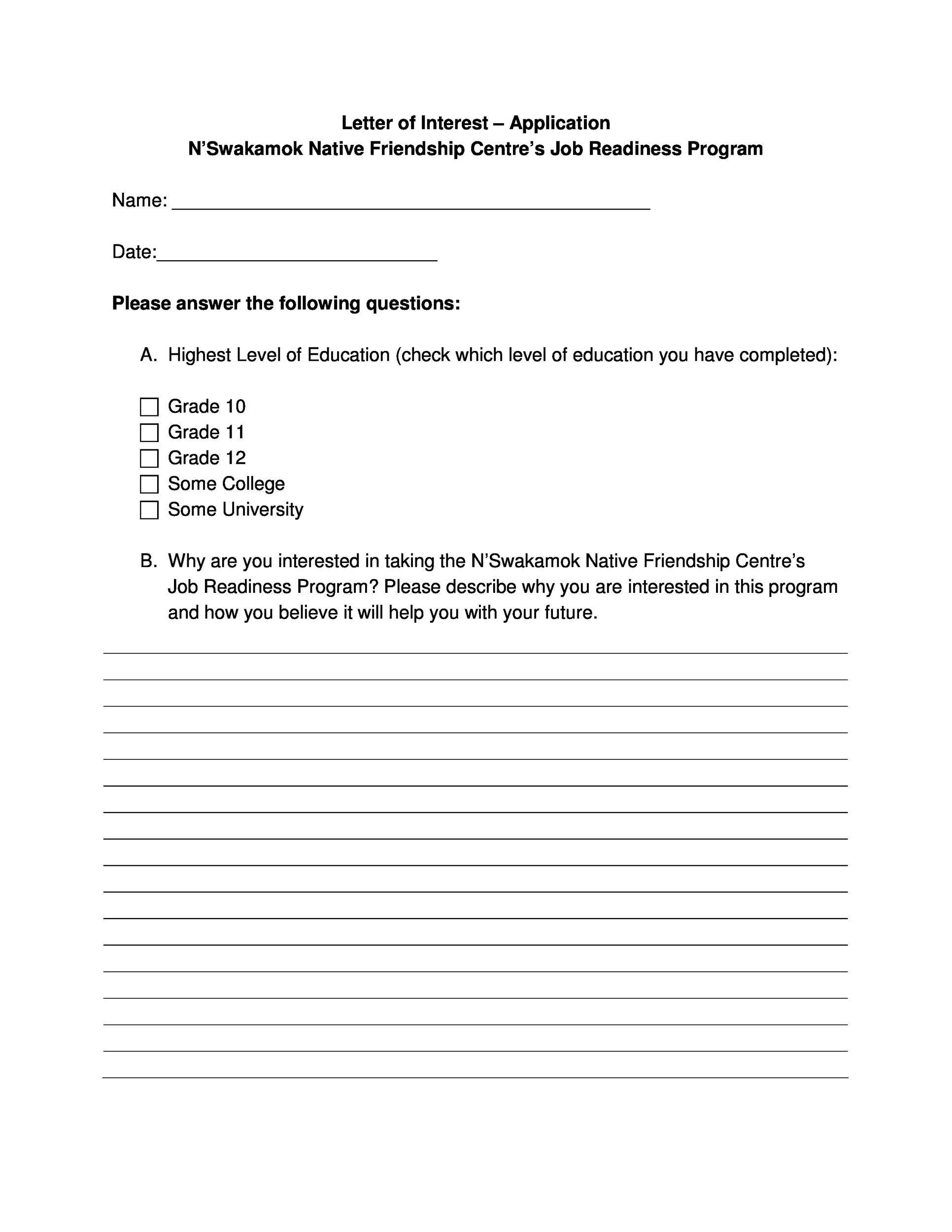 Free letter of interest 25