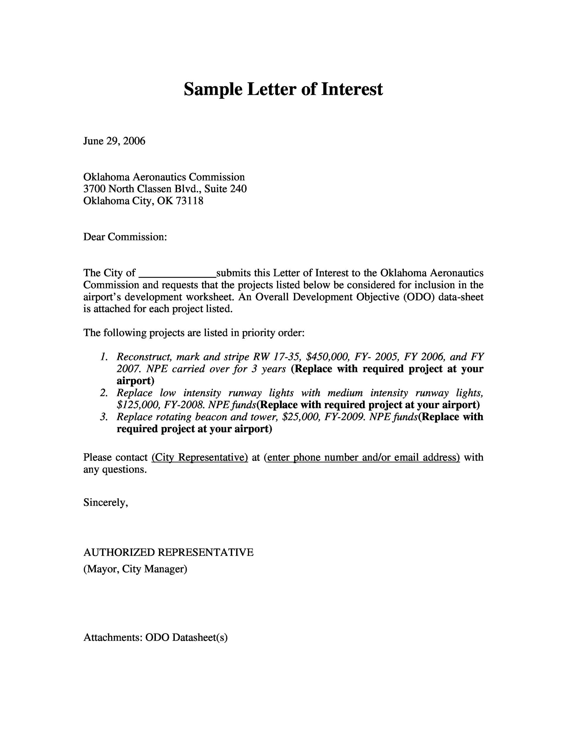 30 Amazing Letter of Interest Samples Templates – Sample Letter